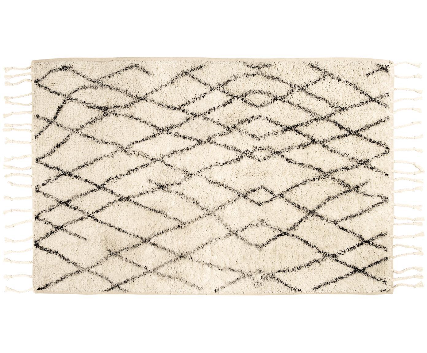 Pluizige badmat Beth met kwastjes, Bovenzijde: katoen, Onderzijde: siliconen, Crèmekleurig, grijs, 60 x 90 cm