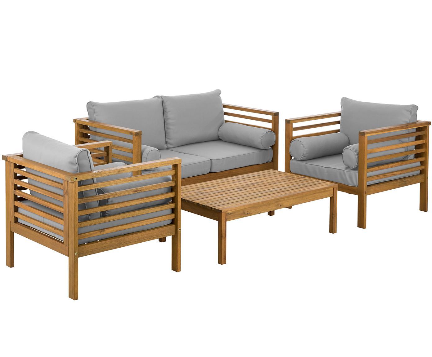 Set lounge de exterior Bo, 4pzas., Tapizado: poliéster, Estructura: madera de acacia maciza a, Gris, acacia, Tamaños diferentes
