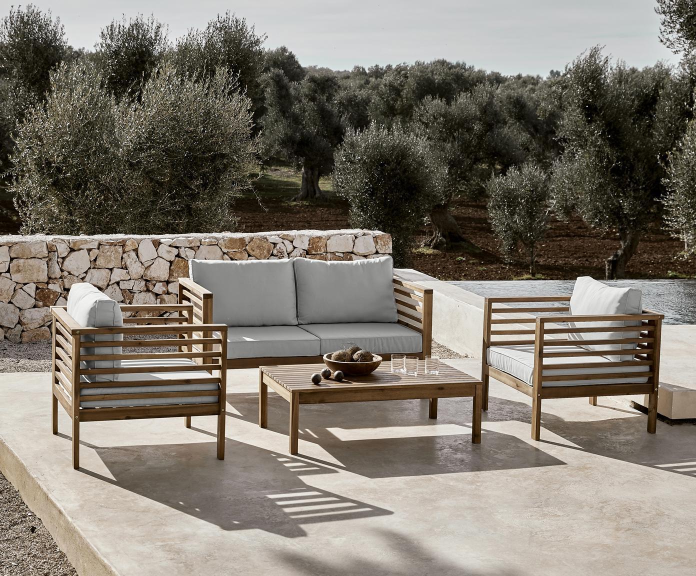 Sada zahradního nábytku Bo, 4 díly, Potah: šedá Rám: akátové dřevo