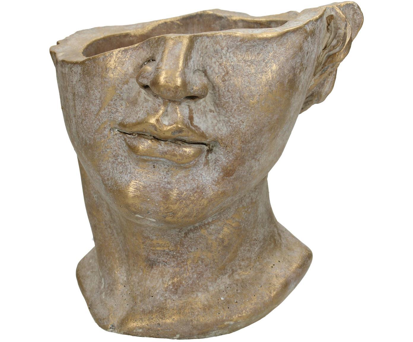 Portavaso Face, Cemento, Dorato con  finitura antica, Larg. 20 x Alt. 19 cm