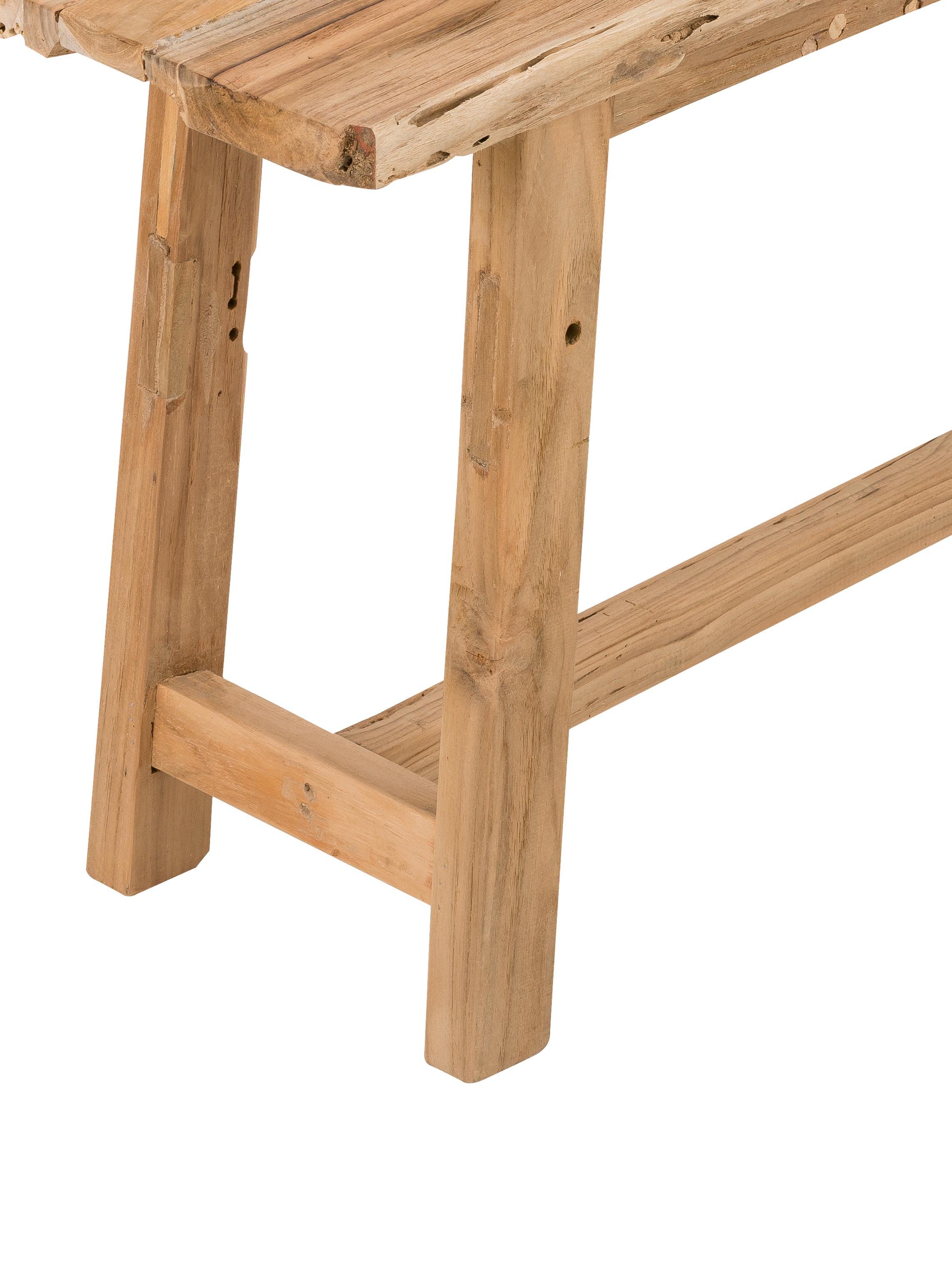 Banco de madera maciza Lawas, Madera de teca natural, Teca, An 100 x Al 46 cm