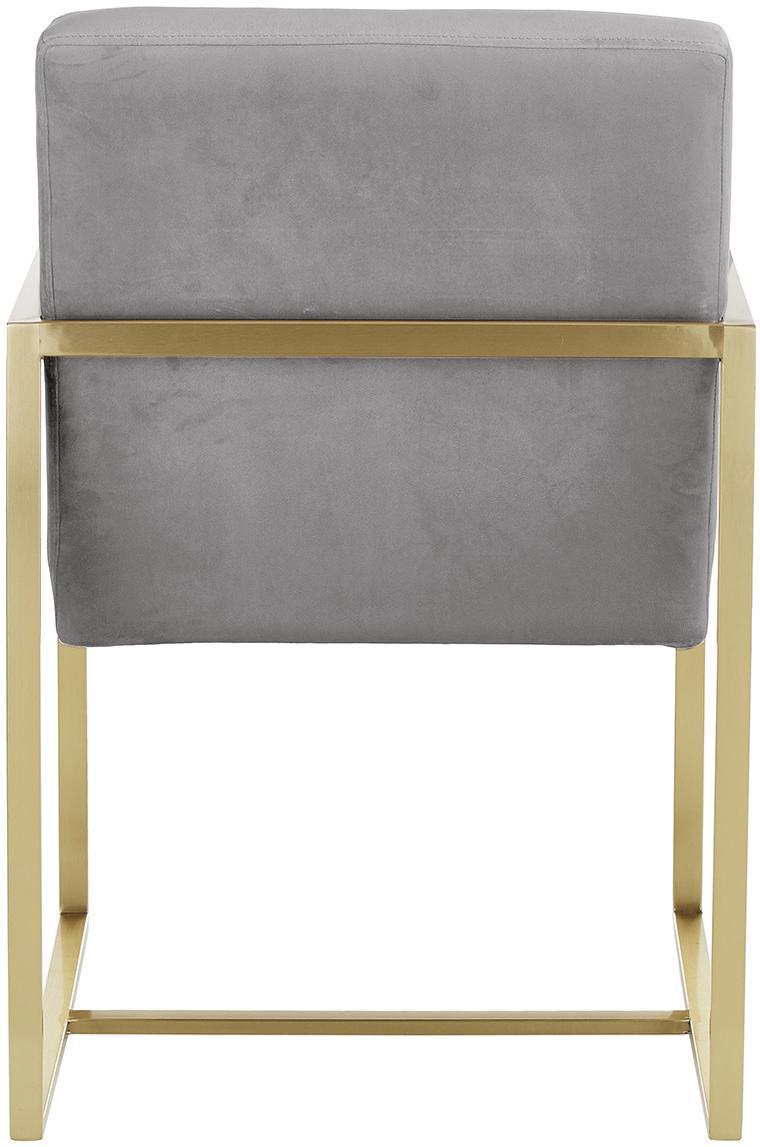 Samt-Armlehnstuhl Manhattan, Bezug: Samt (Polyester), Gestell: Metall, beschichtet, Grau, B 54 x T 66 cm