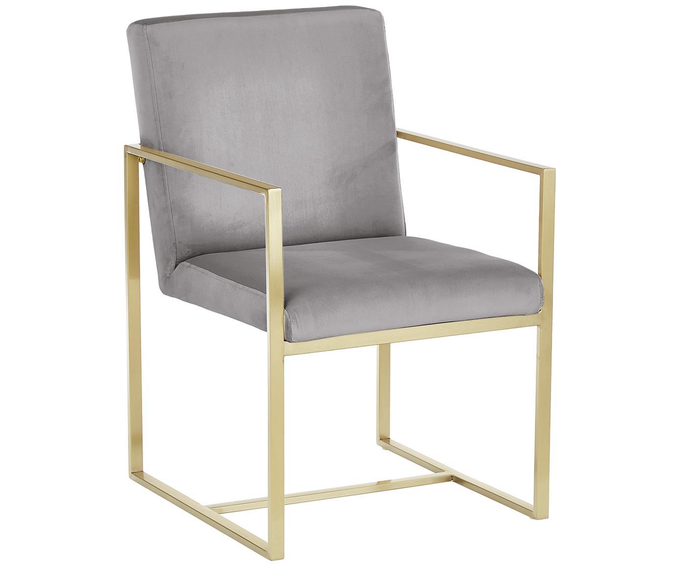 Sedia con braccioli in velluto Manhattan, Rivestimento: velluto (poliestere), Struttura: metallo rivestito, Grigio, Larg. 54 x Prof. 66 cm