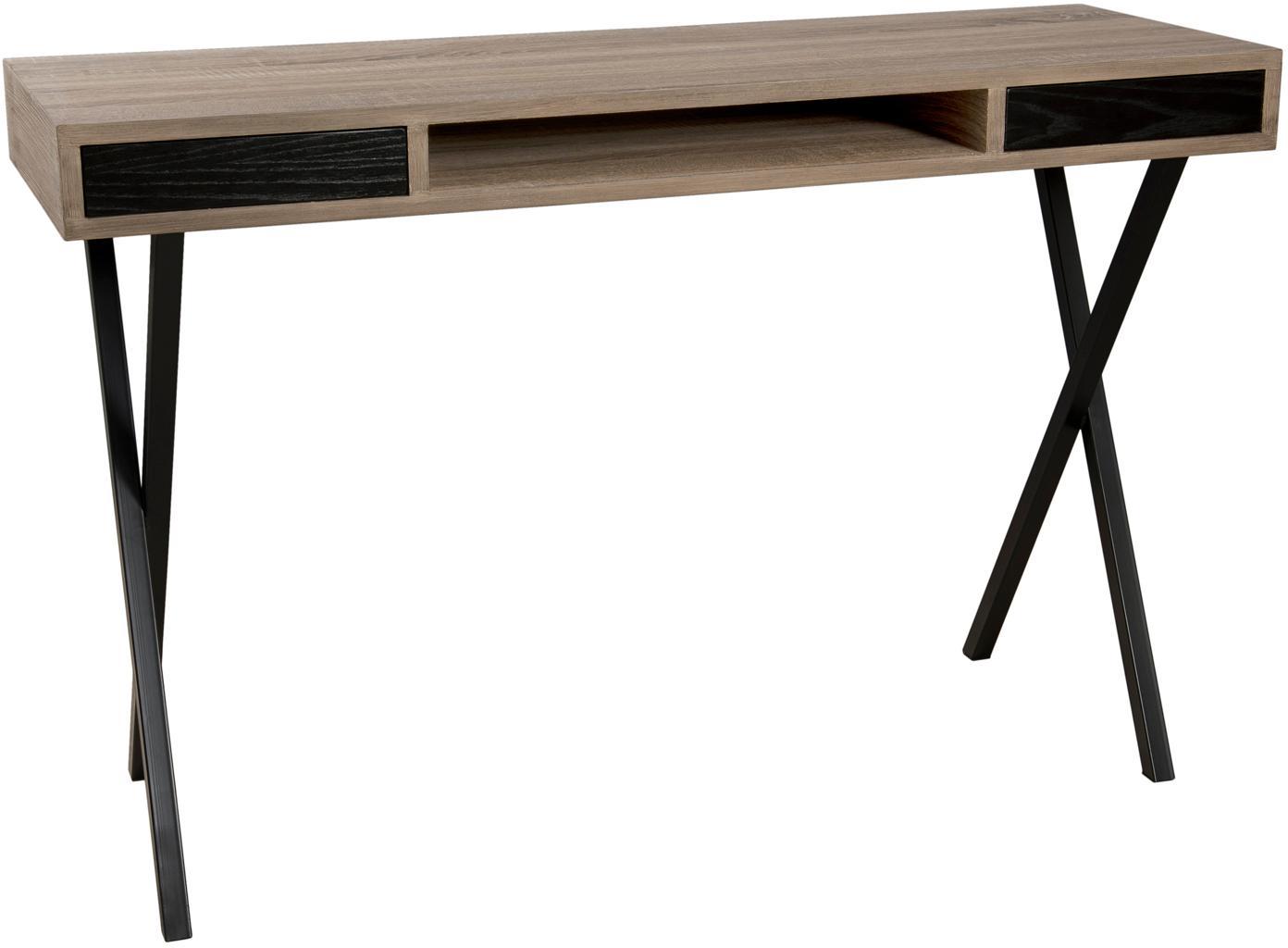 Schmaler Schreibtisch Julia mit Schubladen, Korpus: Mitteldichte Holzfaserpla, Gestell: Metall, lackiert, Teakholz, Schwarz, B 120 x T 40 cm