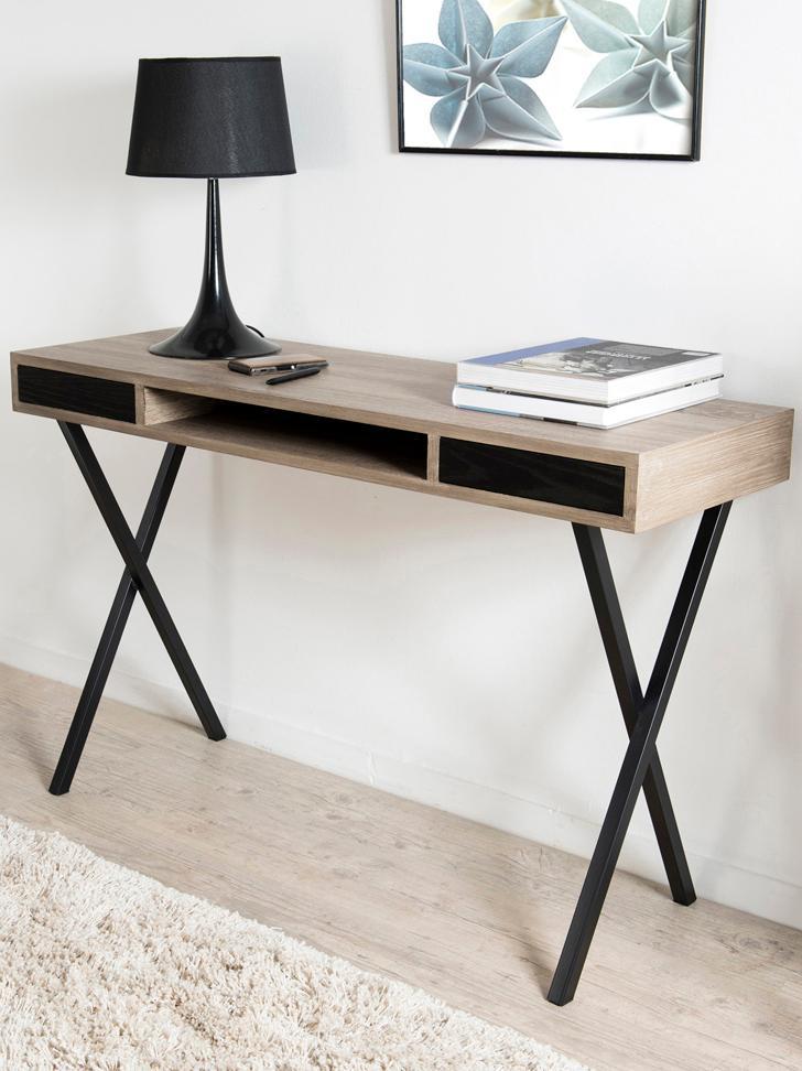 Smal bureau Julia met lades, Frame: MDF, eikenhoutfineer, Poten: gelakt metaal, Teakhoutkleurig, zwart, B 120 x D 40 cm
