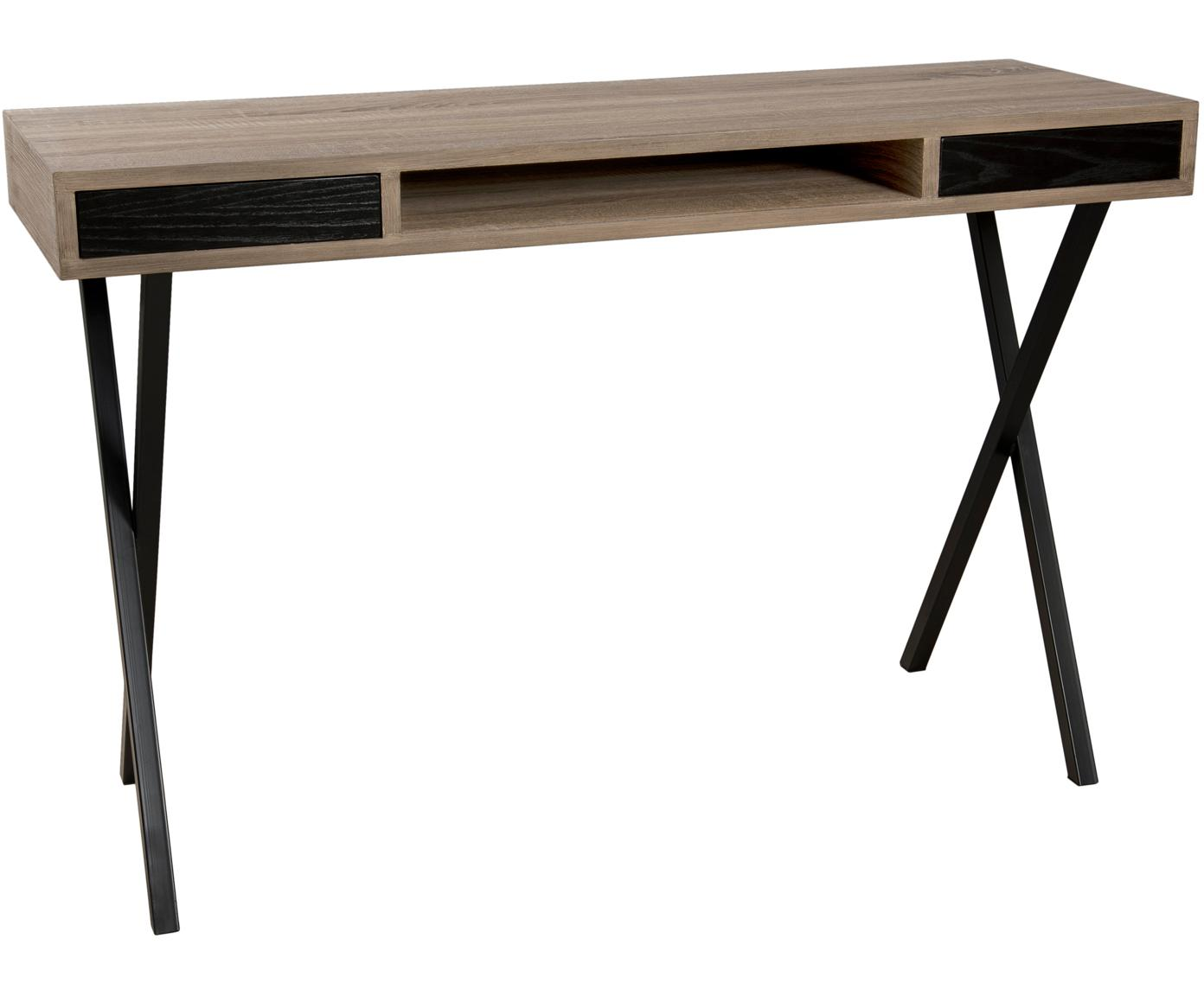 Bureau Julia met lades, Frame: MDF, eikenhoutfineer, Poten: gelakt metaal, Teakhoutkleurig, zwart, B 120 x D 40 cm
