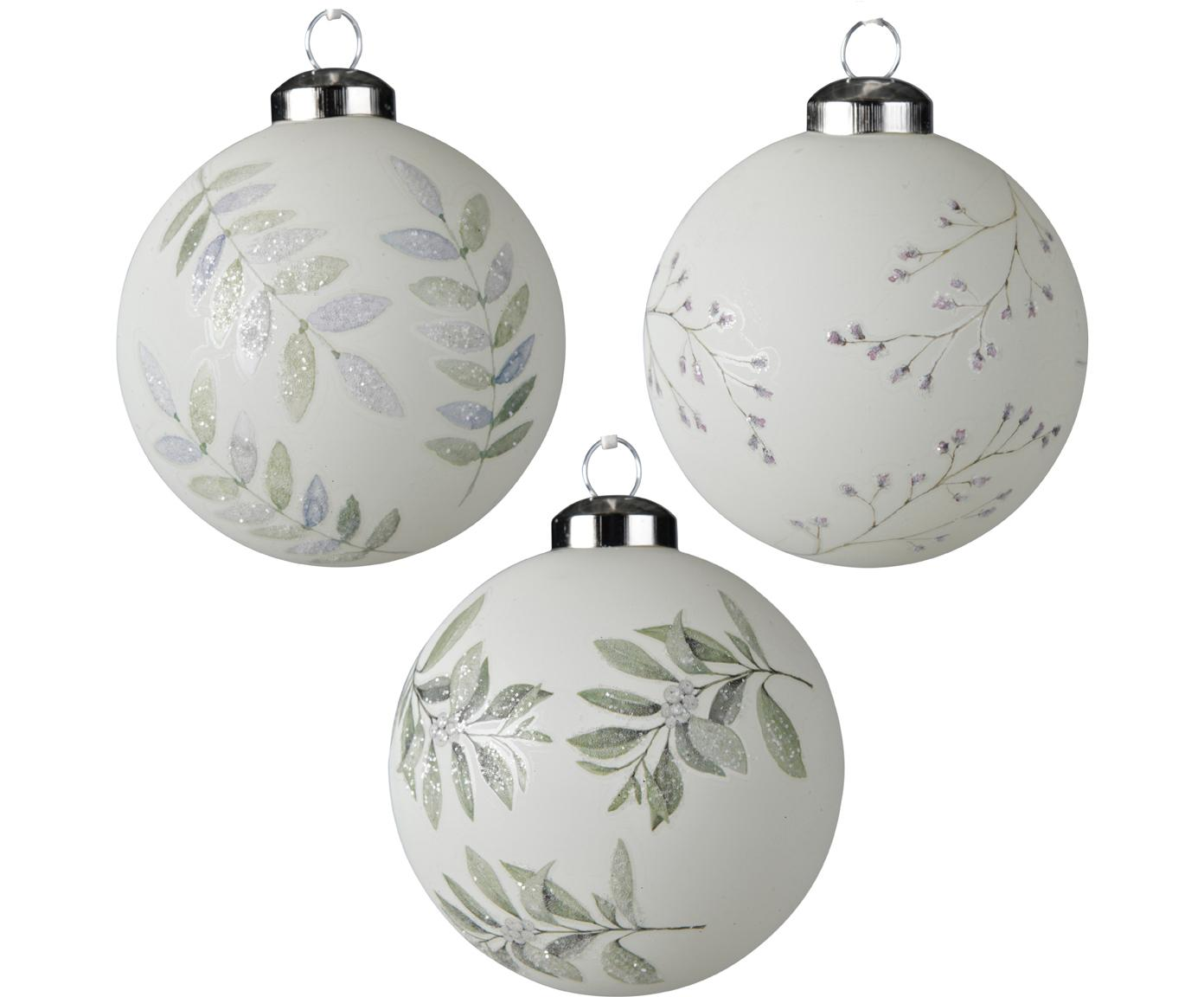 Kerstballenset Lilian, 3-delig, Glas, Wit, grijs, Ø 8 cm