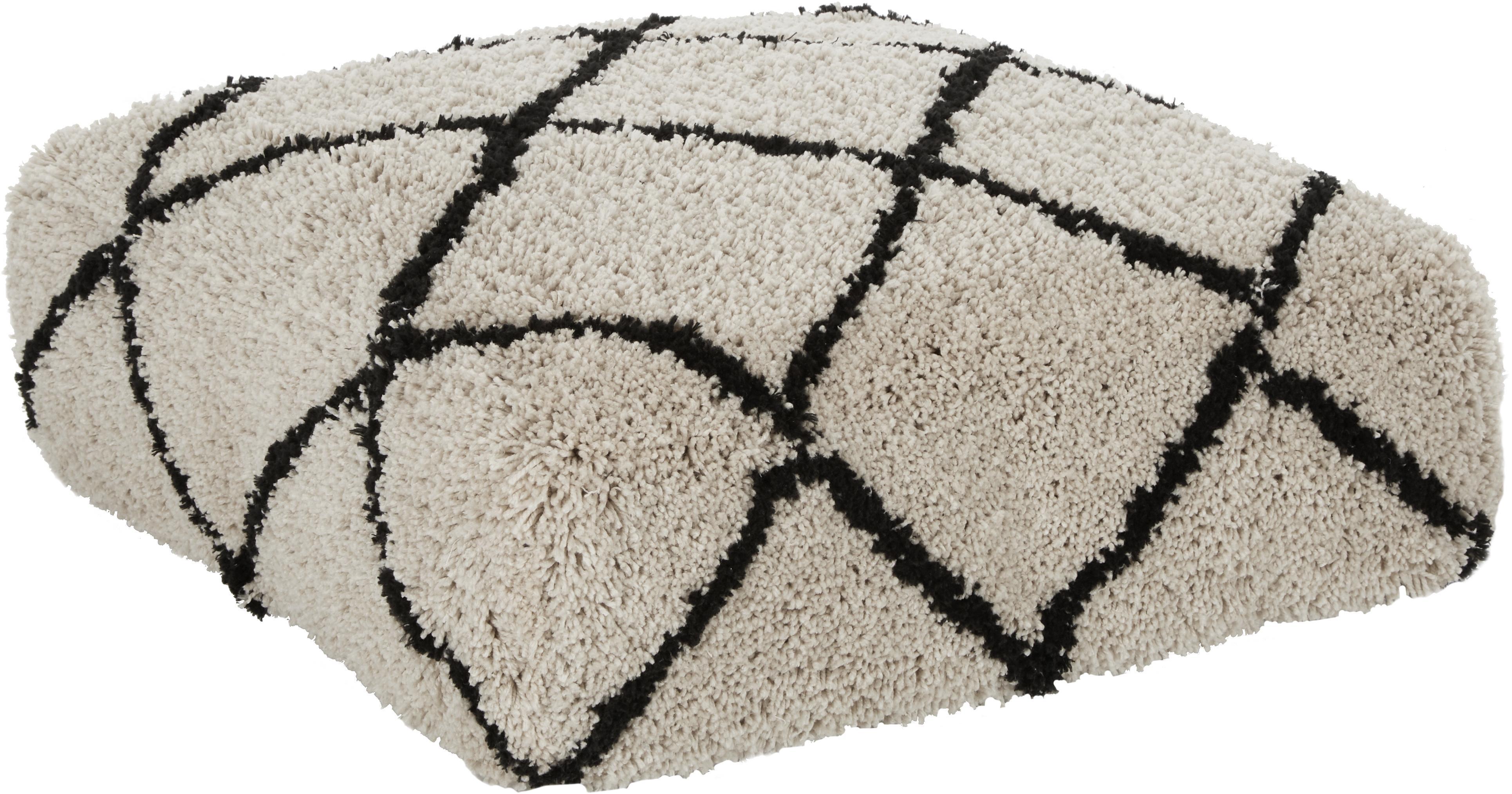 Cuscino da pavimento trapuntato a mano Naima, Rivestimento: 100% poliestere, Beige, nero, Larg. 70 x Alt. 20 cm