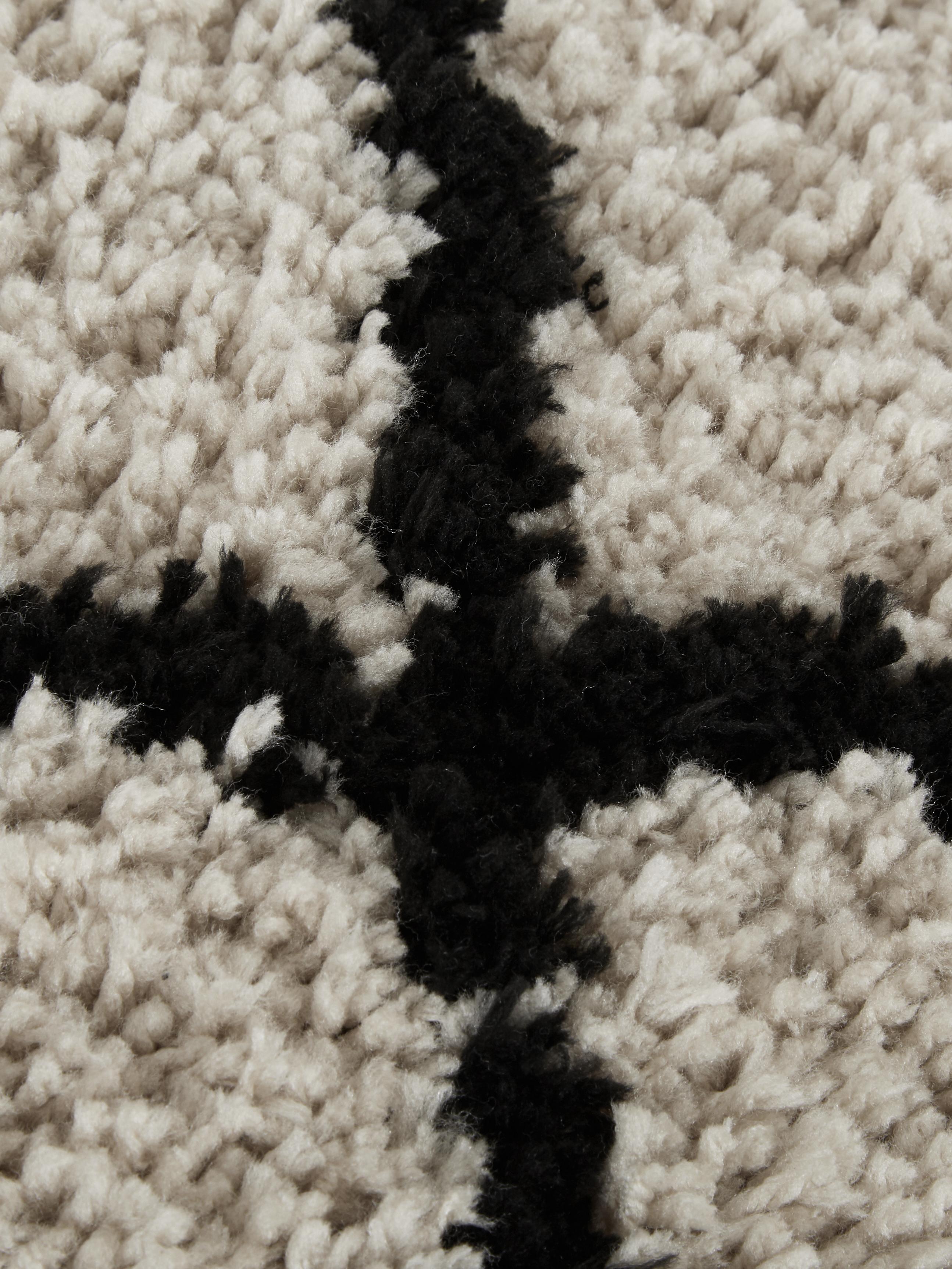 Coussin de sol tufté à la main Naima, Beige, noir