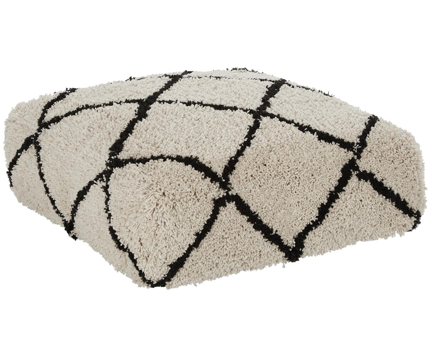 Cojín de suelo artesanal Naima, Funda: 100%poliéster, Beige, negro, An 70 x Al 20 cm