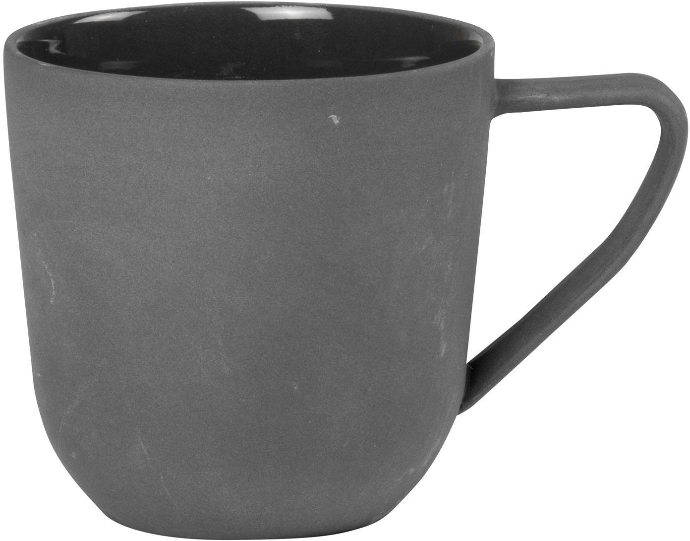 Tazza in grigio scuro opaco/lucido Nudge 4 pz, Porcellana, Grigio scuro, Ø 8 x Alt. 8 cm