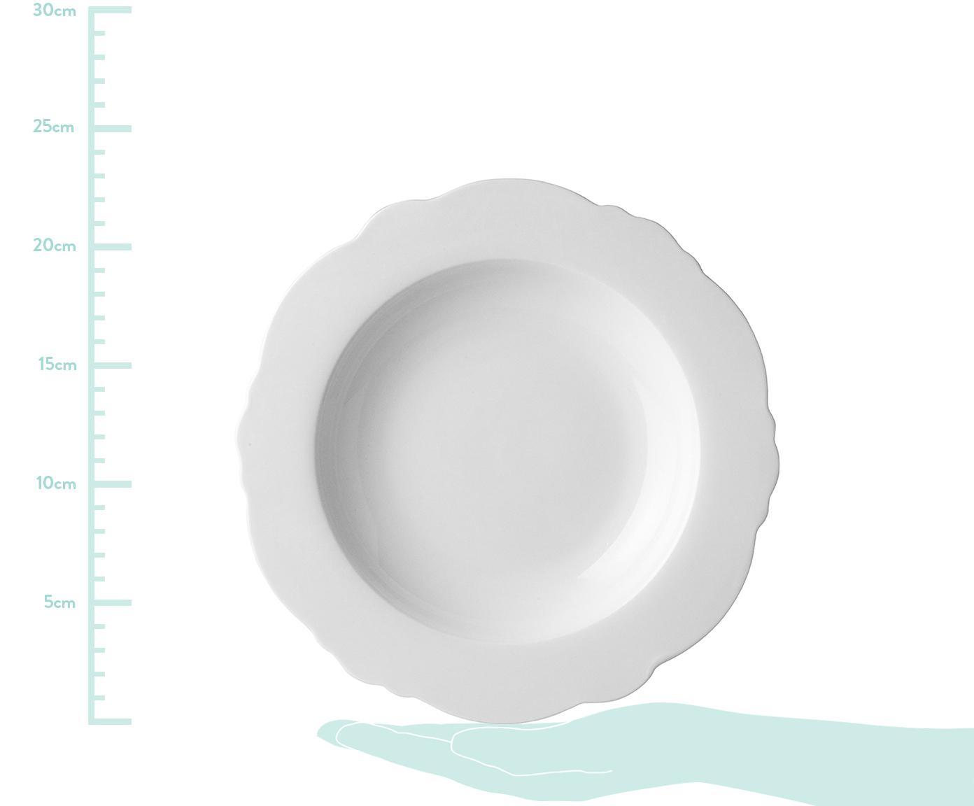 Suppenteller Muschel Loft mit geschwungenem Rand, 4 Stück, Porzellan, Weiß, Ø 23 x H 3 cm
