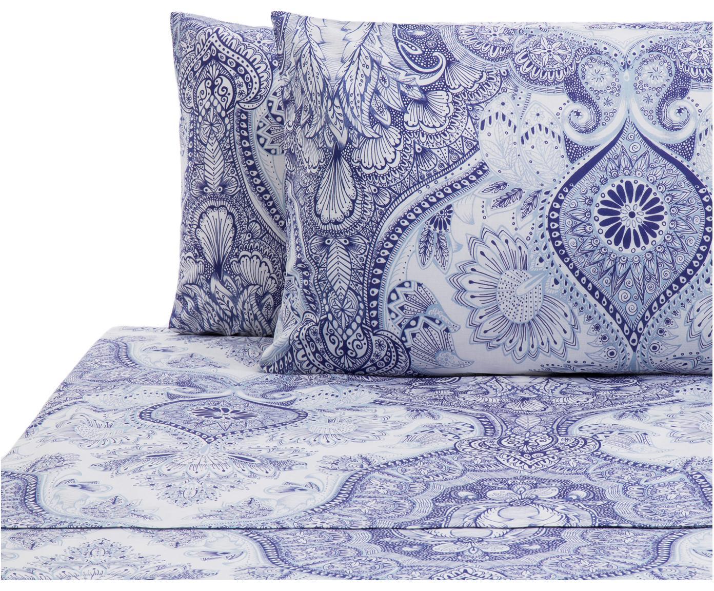 Set lenzuola in cotone Lato 2 pz, Cotone, Tonalità blu, bianco, 240 x 270 cm