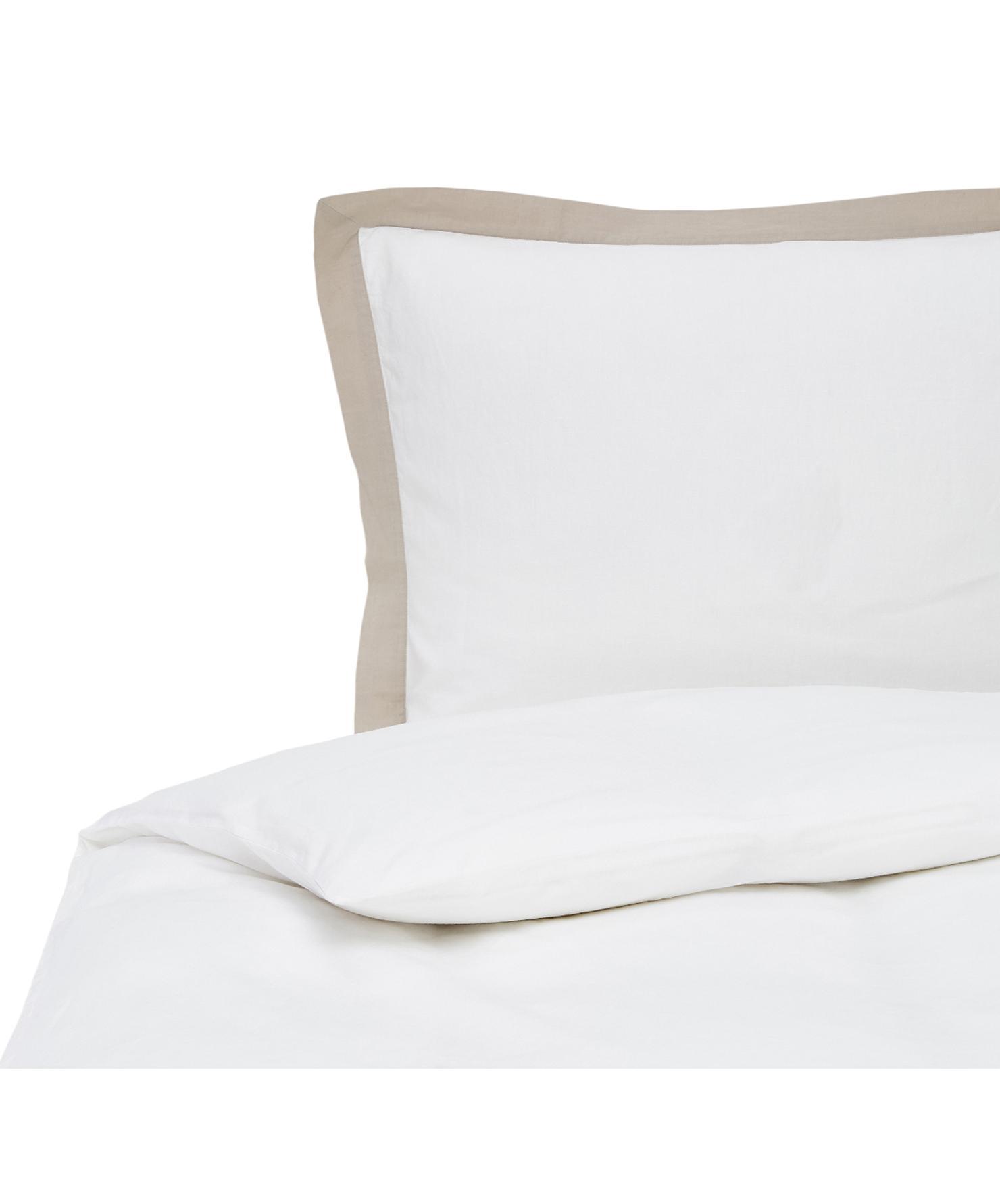 Gewaschene Leinen-Bettwäsche Eleanore in Weiß/Beige, Halbleinen (52% Leinen, 48% Baumwolle)  Fadendichte 136 TC, Standard Qualität  Halbleinen hat von Natur aus einen kernigen Griff und einen natürlichen Knitterlook, der durch den Stonewash-Effekt verstärkt wird. Es absorbiert bis zu 35% Luftfeuchtigkeit, trocknet sehr schnell und wirkt in Sommernächten angenehm kühlend. Die hohe Reißfestigkeit macht Halbleinen scheuerfest und strapazierfähig., Weiß, Beige, 135 x 200 cm + 1 Kissen 80 x 80 cm