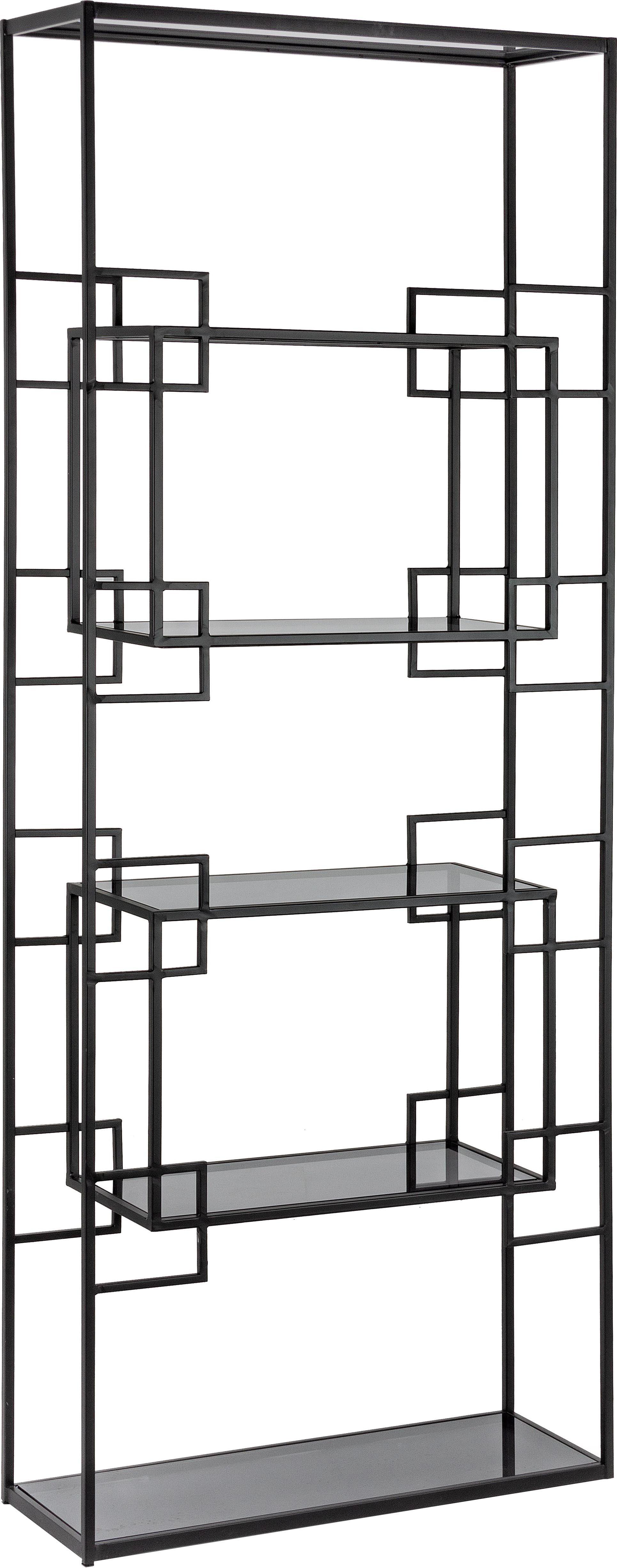 Metall-Standregal Korvet in Schwarz, Gestell: Metall, epoxidiert und pu, Einlegeböden: Glas, Schwarz, Grau, transparent, 71 x 183 cm