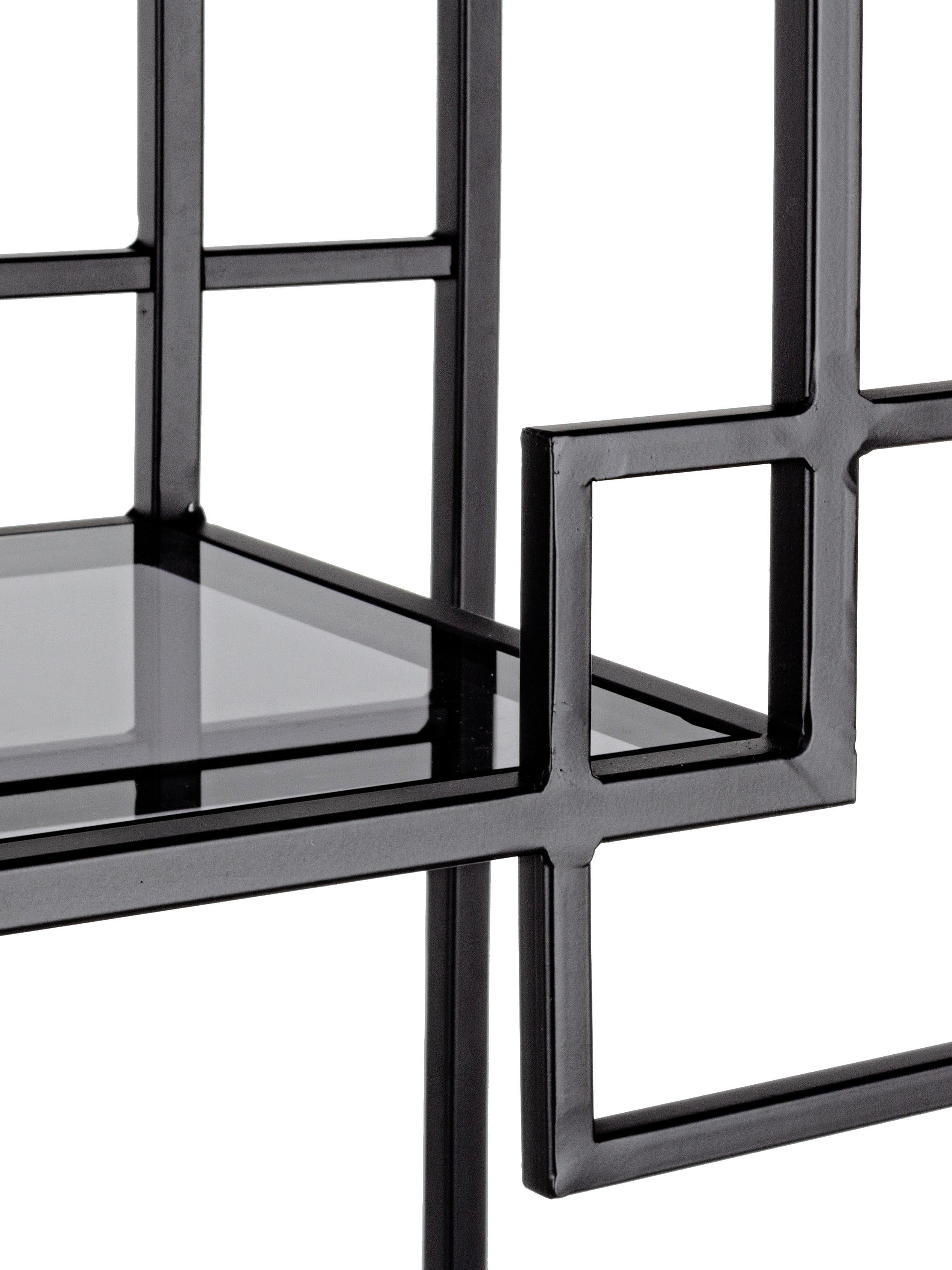 Kovový regál Korvet, Černá, šedá, transparentní