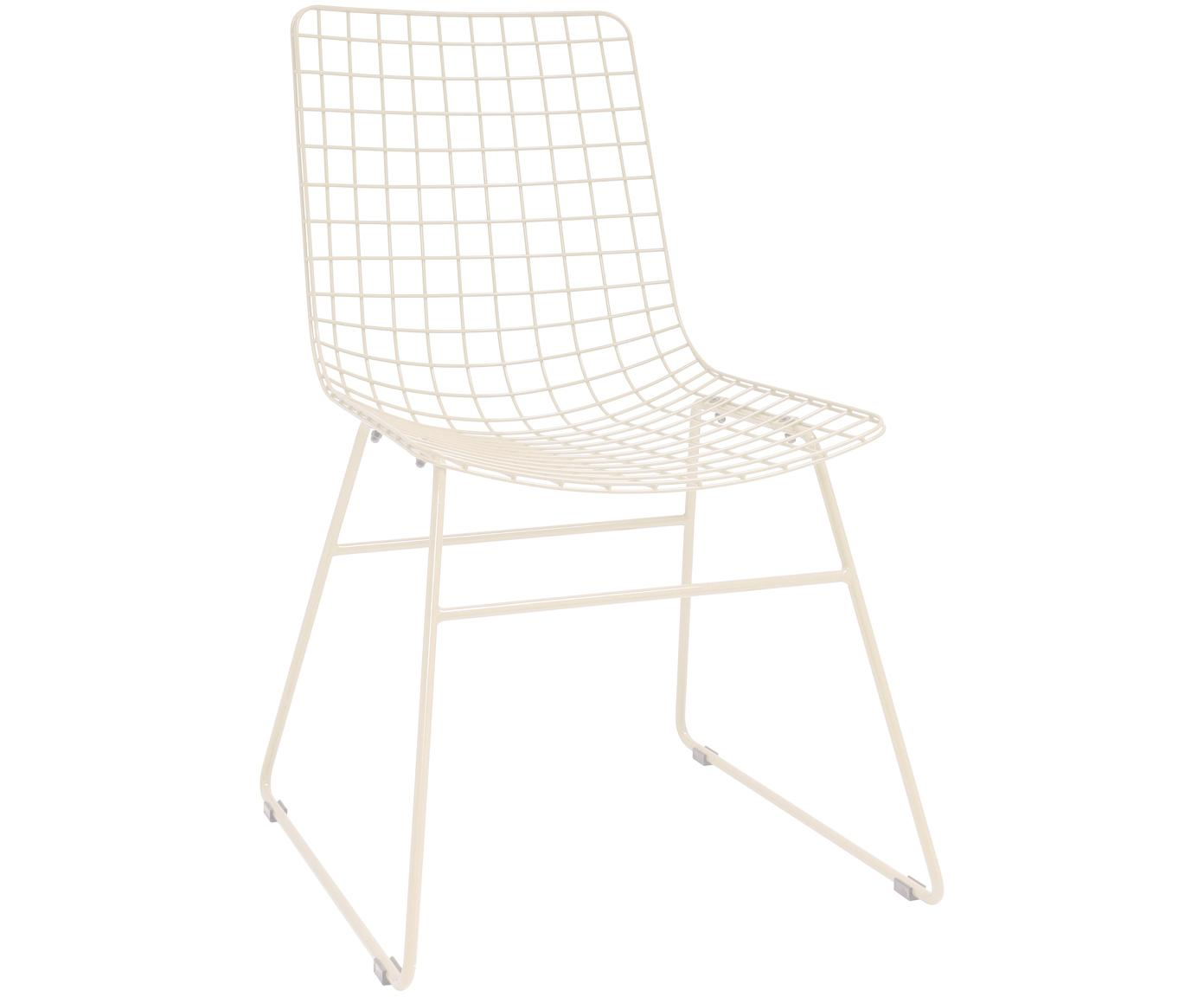Sedia in metallo bianco crema Wire, Metallo verniciato a polvere, Bianco crema, Larg. 47 x Prof. 54 cm