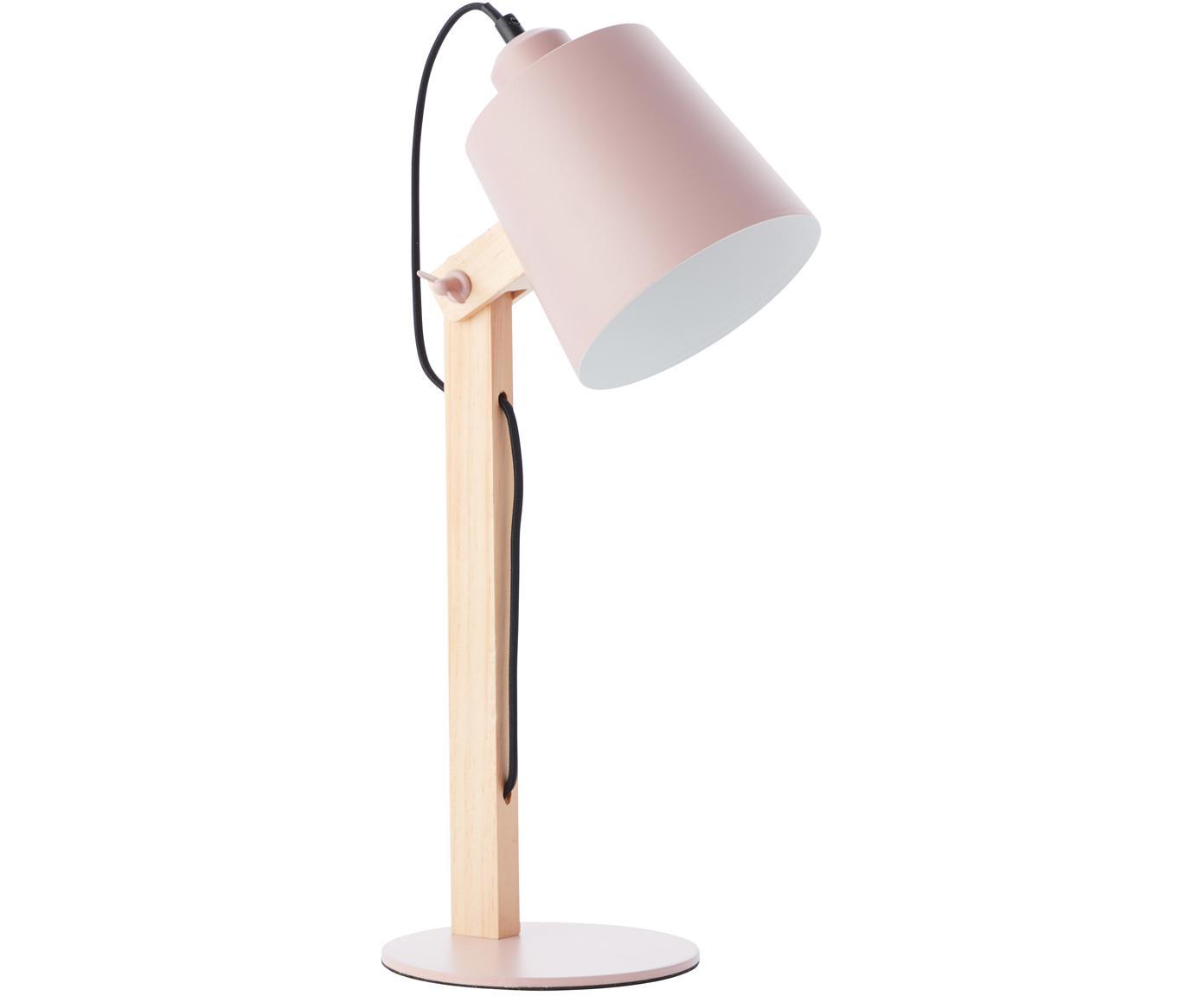 Skandi-Schreibtischlampe Swivel mit Holzfuß, Lampenschirm: Metall, Lampenfuß: Metall, Rosa, Holz, 16 x 52 cm