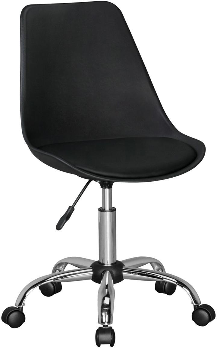 Bürodrehstuhl Korsika mit gepolstertem Sitz, Sitzfläche: Kunstleder, Gestell: Metall, verchromt, Rollen: Kunststoff, Schwarz, Chrom, B 47 x T 46 cm