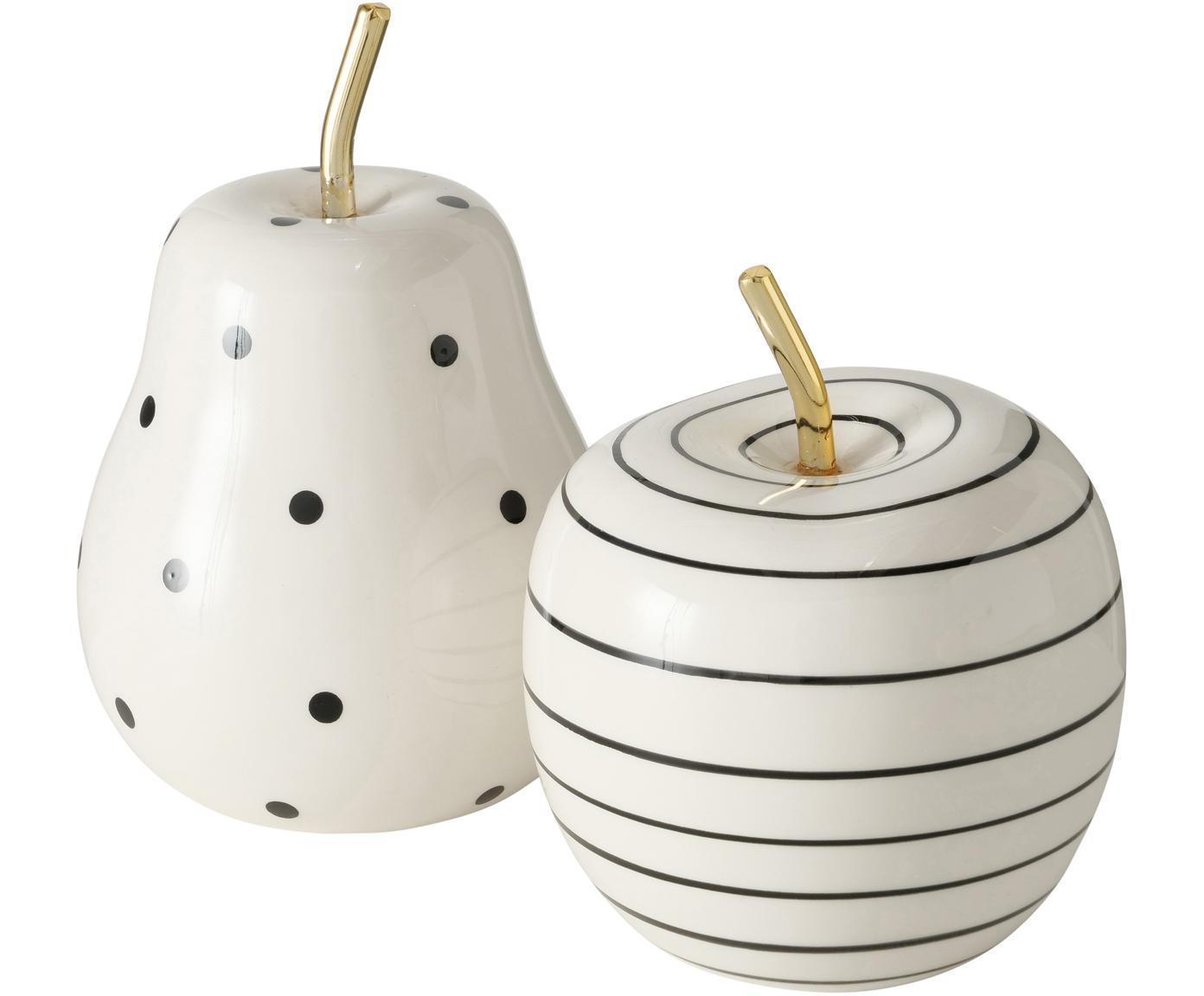 Deko-Objekte-Set Primy, 2-tlg., Dolomit, Weiß, Schwarz, Messingfarben, Ø 10 x H 15 cm
