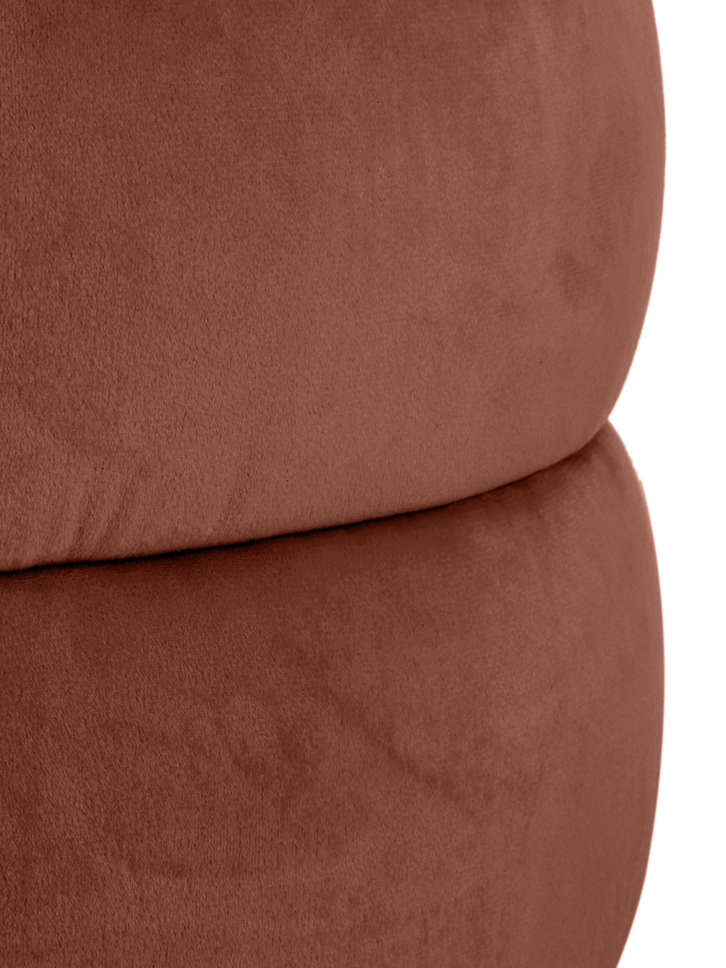 Sgabello in velluto Alto, Rivestimento: velluto (poliestere) 30.0, Struttura: legno di pino massiccio, , Marrone, Ø 42 x Alt. 48 cm