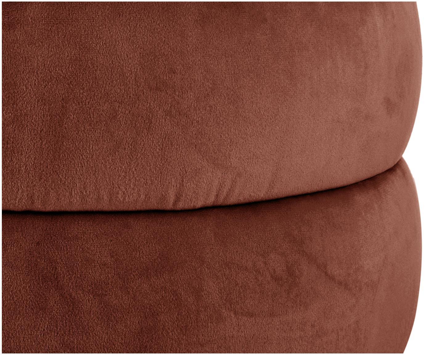 Puf z aksamitu Alto, Tapicerka: aksamit (poliester) 3000, Stelaż: lite drewno sosnowe, skle, Brązowy, Ø 42 x W 48 cm