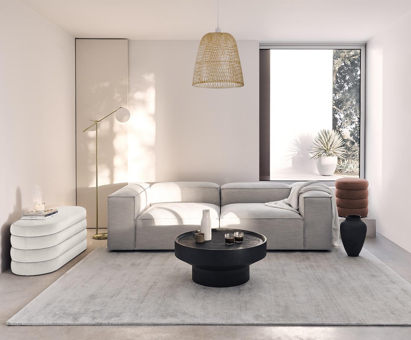 Fluwelen poef Alto, Bekleding: fluweel (polyester), Frame: massief grenenhout, multi, Bruin, Ø 42 x H 48 cm