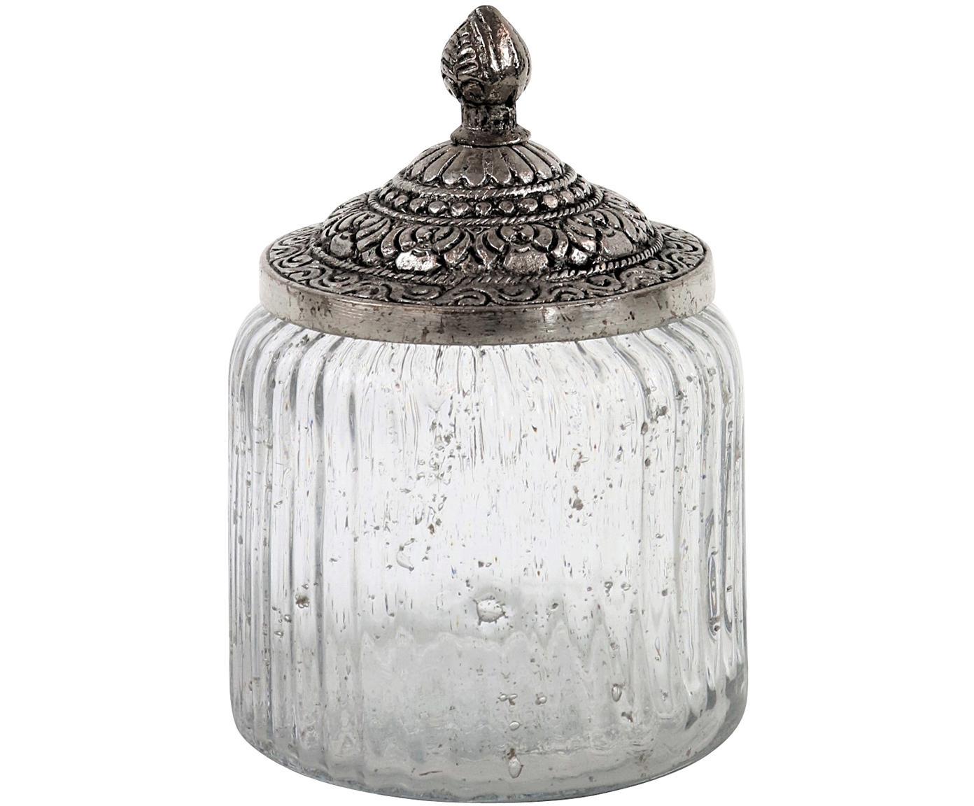 Opbergpot Alhambra , Pot: glas, Deksel: metaal, Transparant, zilverkleurig, Ø 10 x H 15 cm