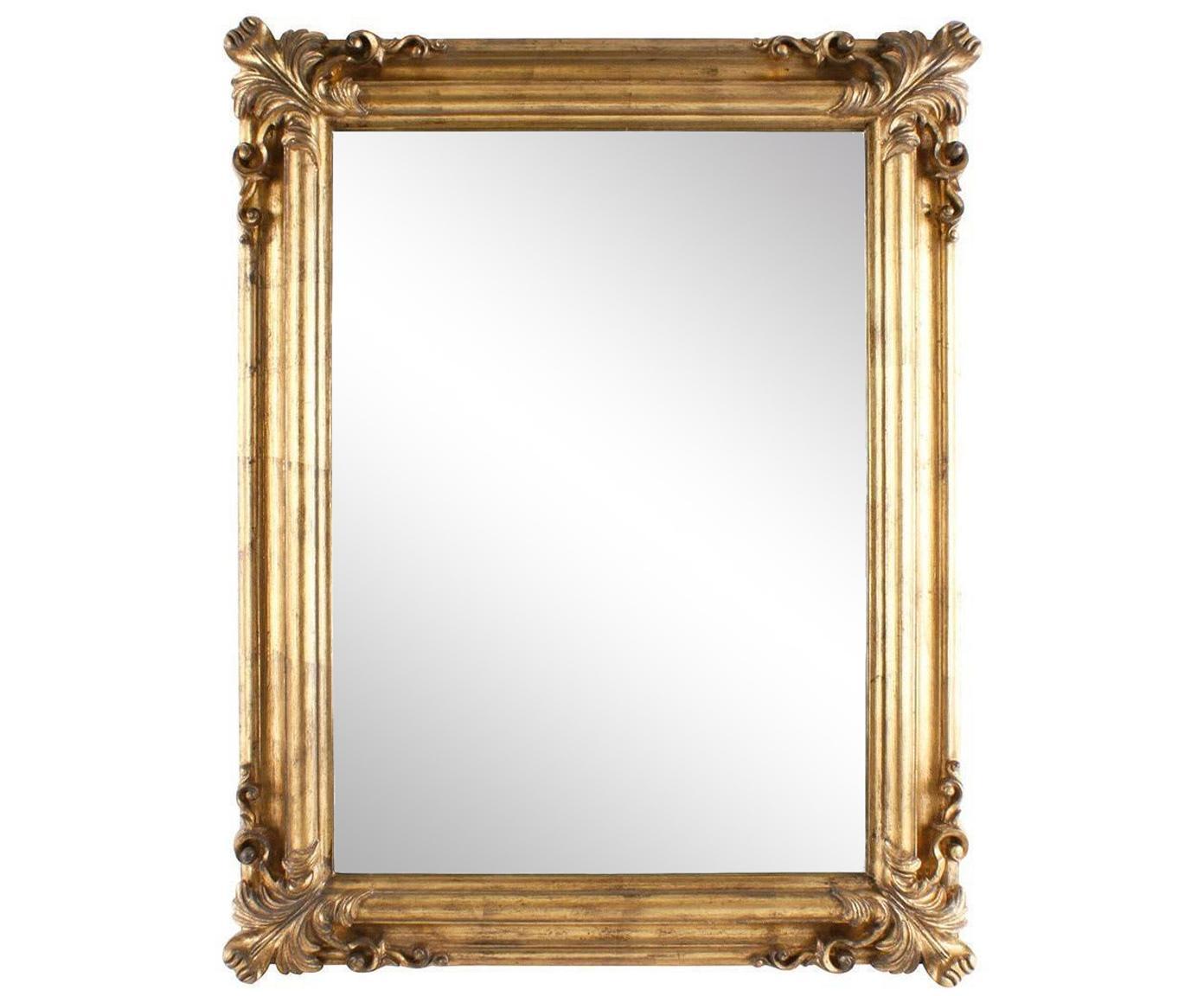 Espejo de pared Barbara, Poliresina, espejo de cristal, Latón, marfil, An 70 x Al 90 cm