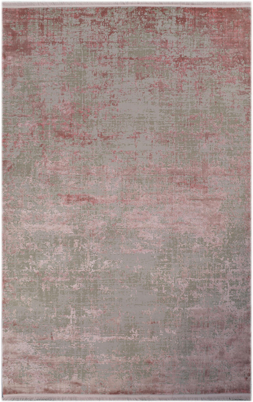 Alfombra con flecos Cordoba, estilo vintage, Parte superior: 70%acrílico, 30%viscosa, Reverso: algodón, Gris, rosa, An 160 x L 230 cm (Tamaño M)