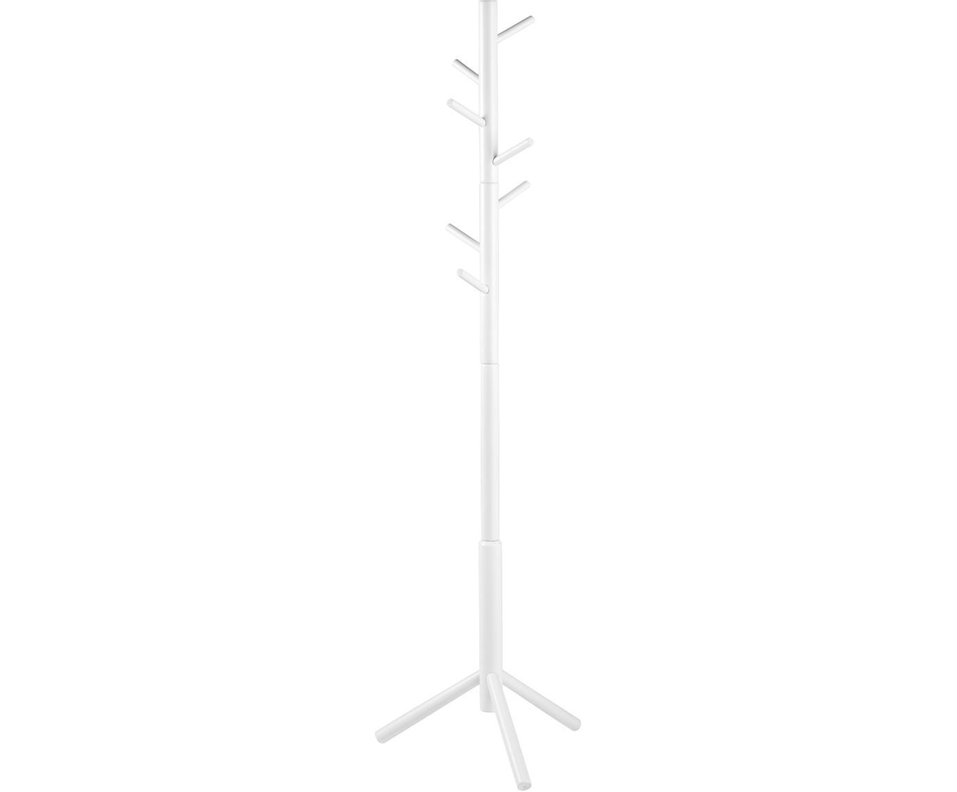 Kleiderständer Bremen aus Holz mit 6 Haken, Gummibaumholz, lackiert, Weiß, 51 x 176 cm