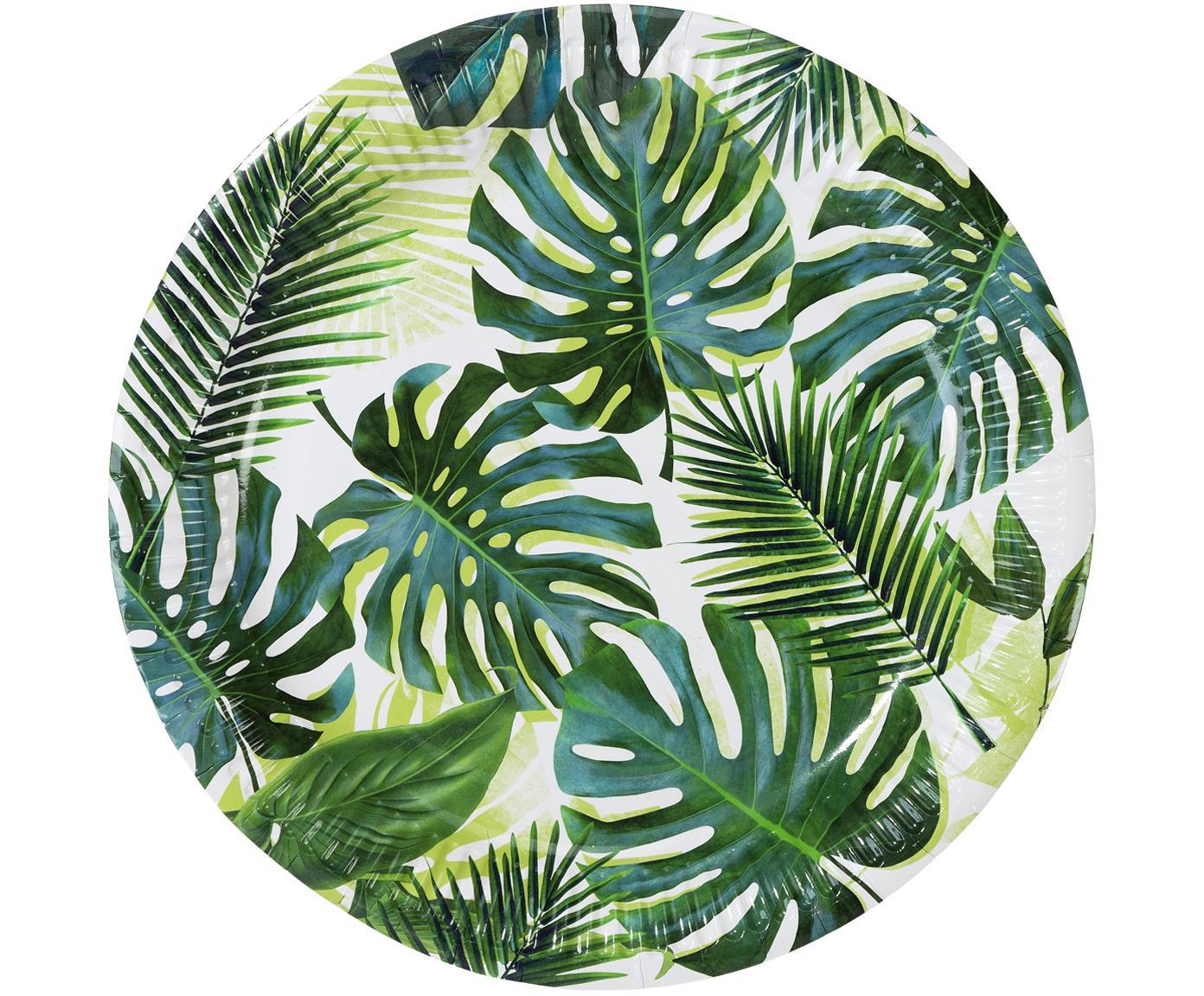 Piatti di carta Tropical Fiesta, 8 pz., Carta, Verde, bianco, Ø 23 x Alt. 2 cm