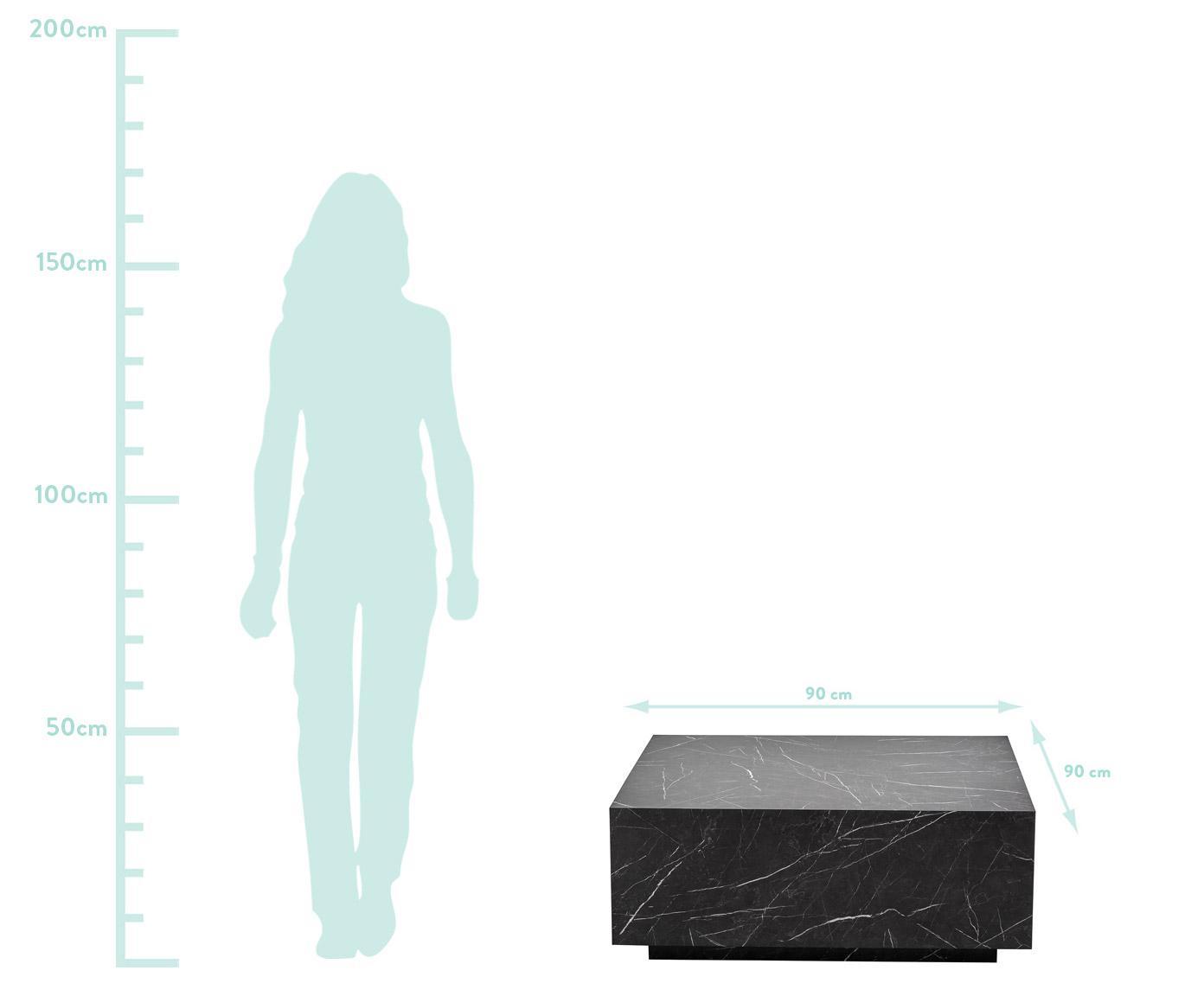 Tavolino da salotto nero effetto marmo Lesley, Pannello di fibra a media densità (MDF) rivestito con foglio di melamina, Nero, marmorizzato lucido, Larg. 90 x Alt. 35 cm