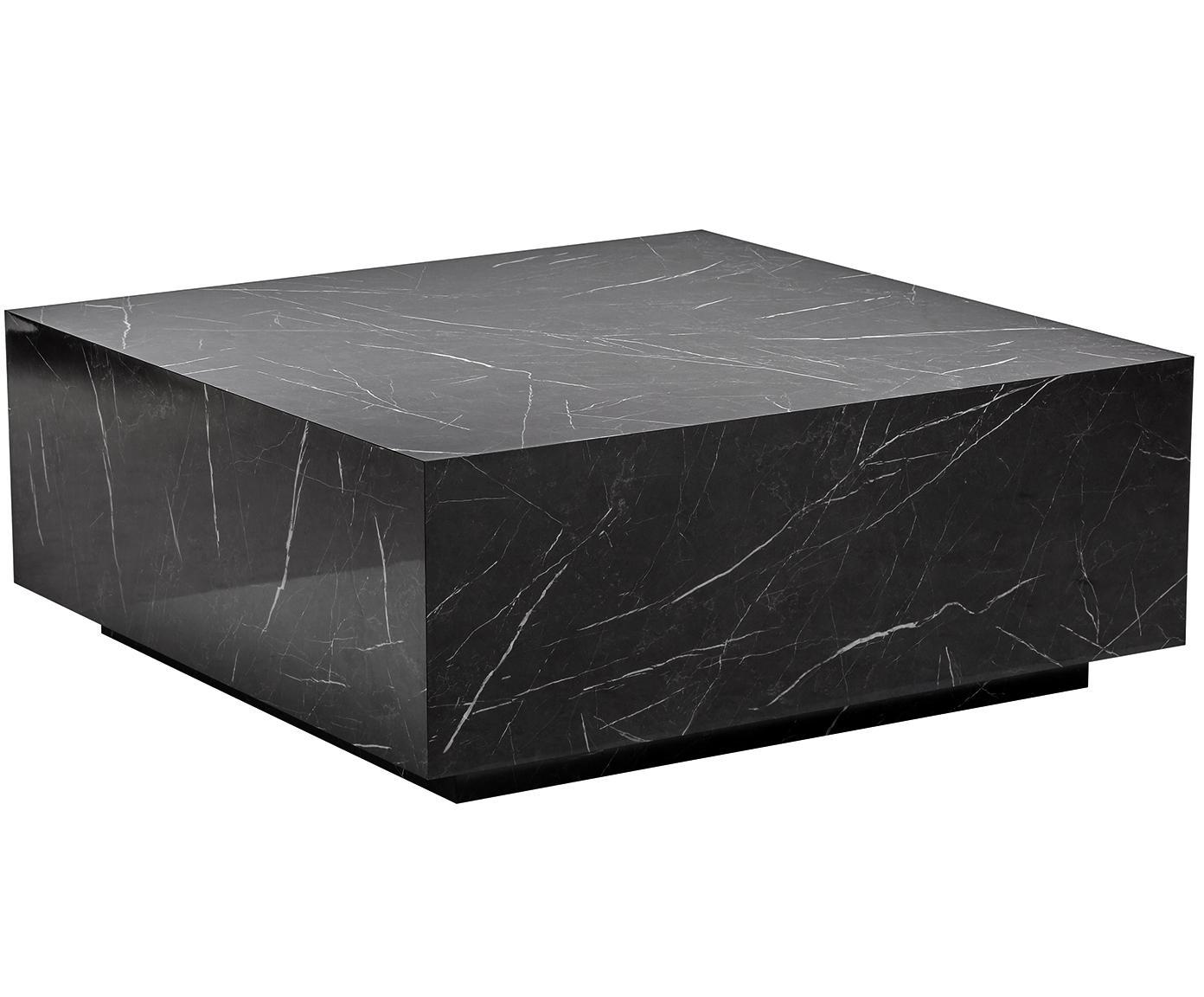 Zwevende salontafel Lesley met marmerlook, MDF bekleed met melaminefolie, Zwart, gemarmerd, glanzend, B 90 x D 90 cm
