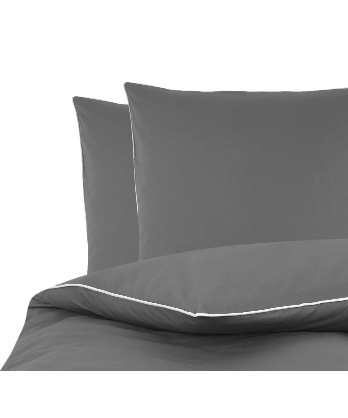 Pościel z perkalu z lamówką Daria, Ciemny szary Wykończenie brzegów: biały, 200 x 200 cm