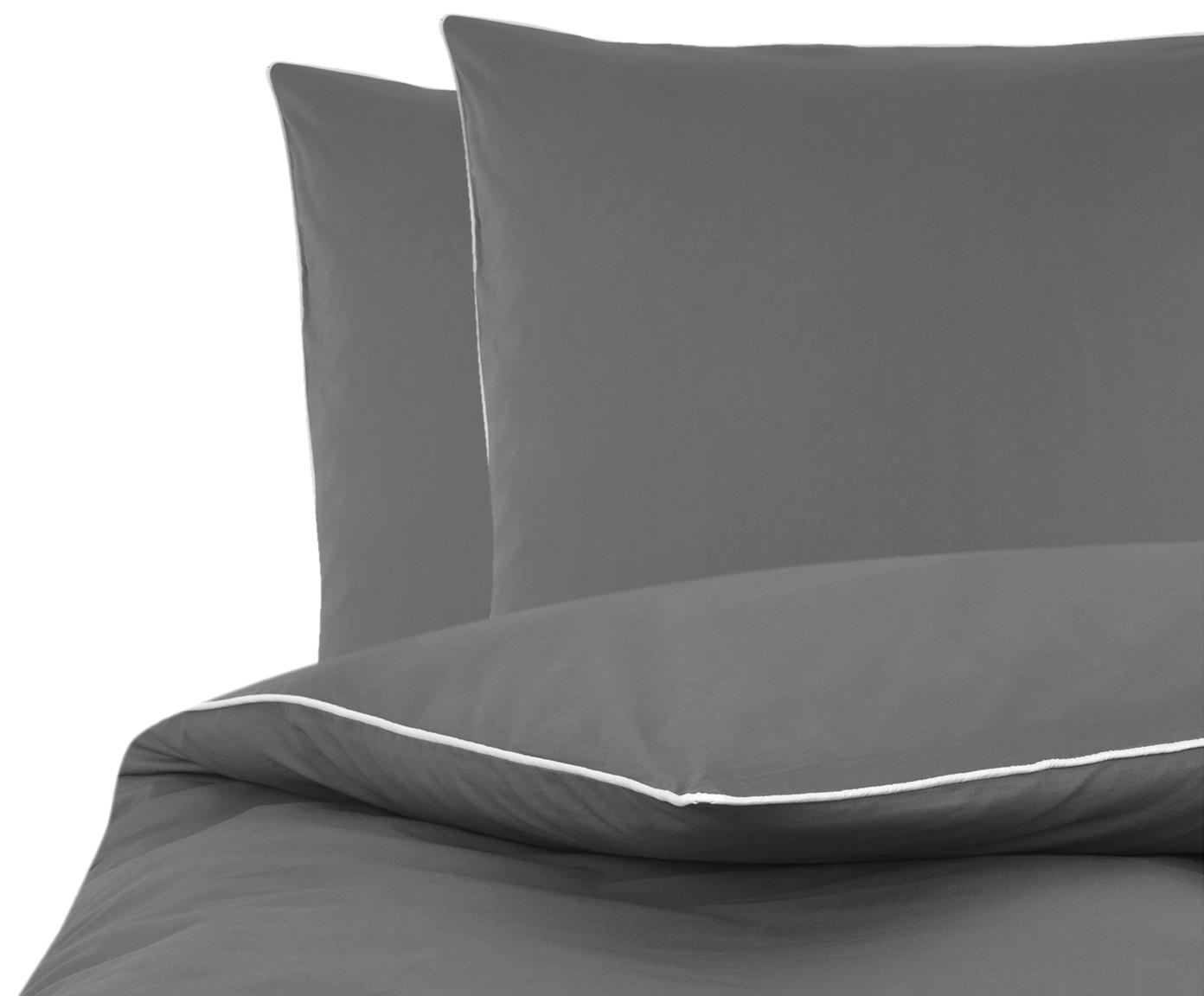 Baumwollperkal-Bettwäsche Daria in Grau mit Keder, Webart: Perkal Fadendichte 200 TC, DunkelgrauKederumrandung: Weiß, 200 x 200 cm + 2 Kissen 80 x 80 cm