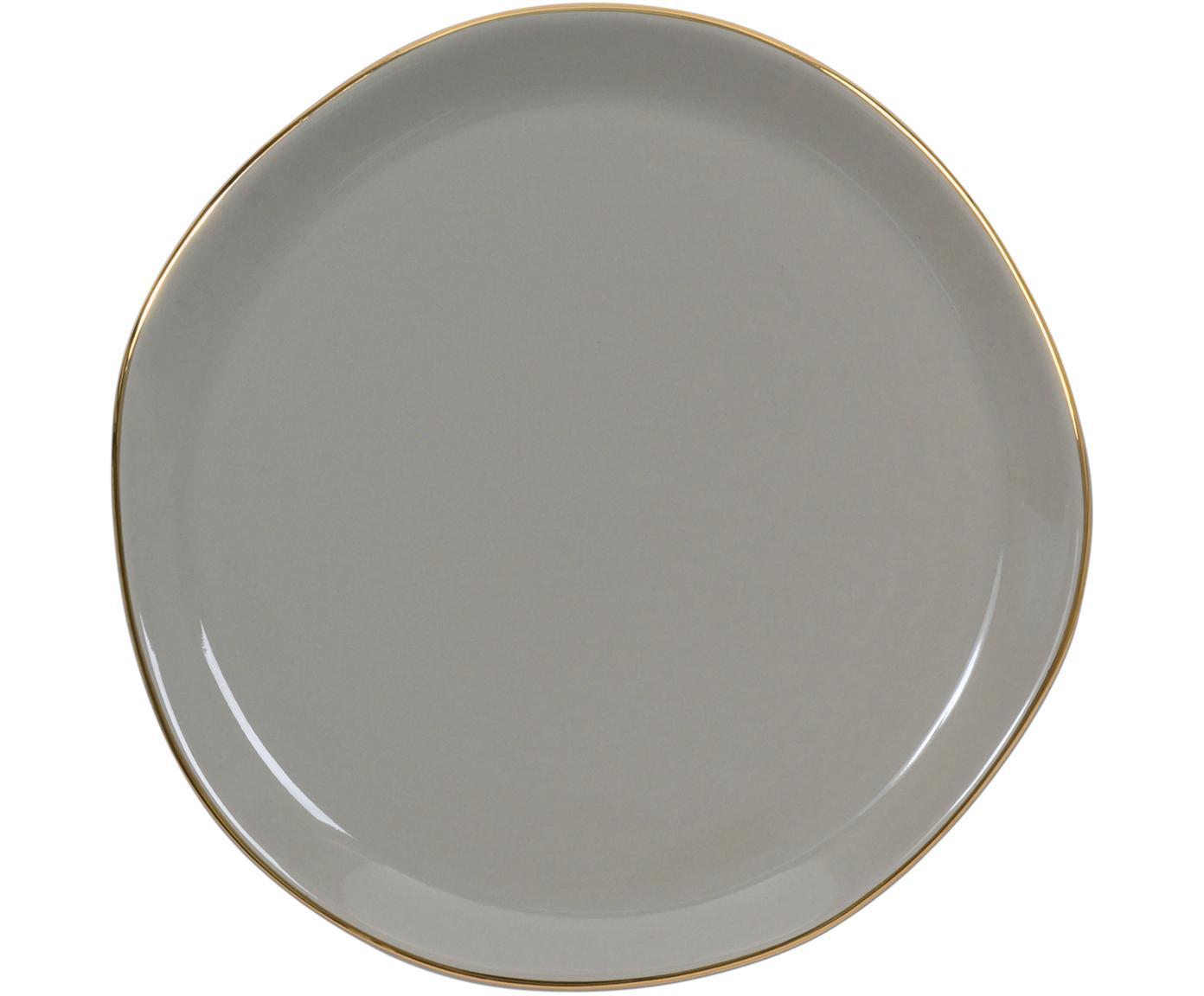 Broodbord Good Morning met goudkleurige rand, Keramiek, Grijs, goudkleurig, Ø 17 cm