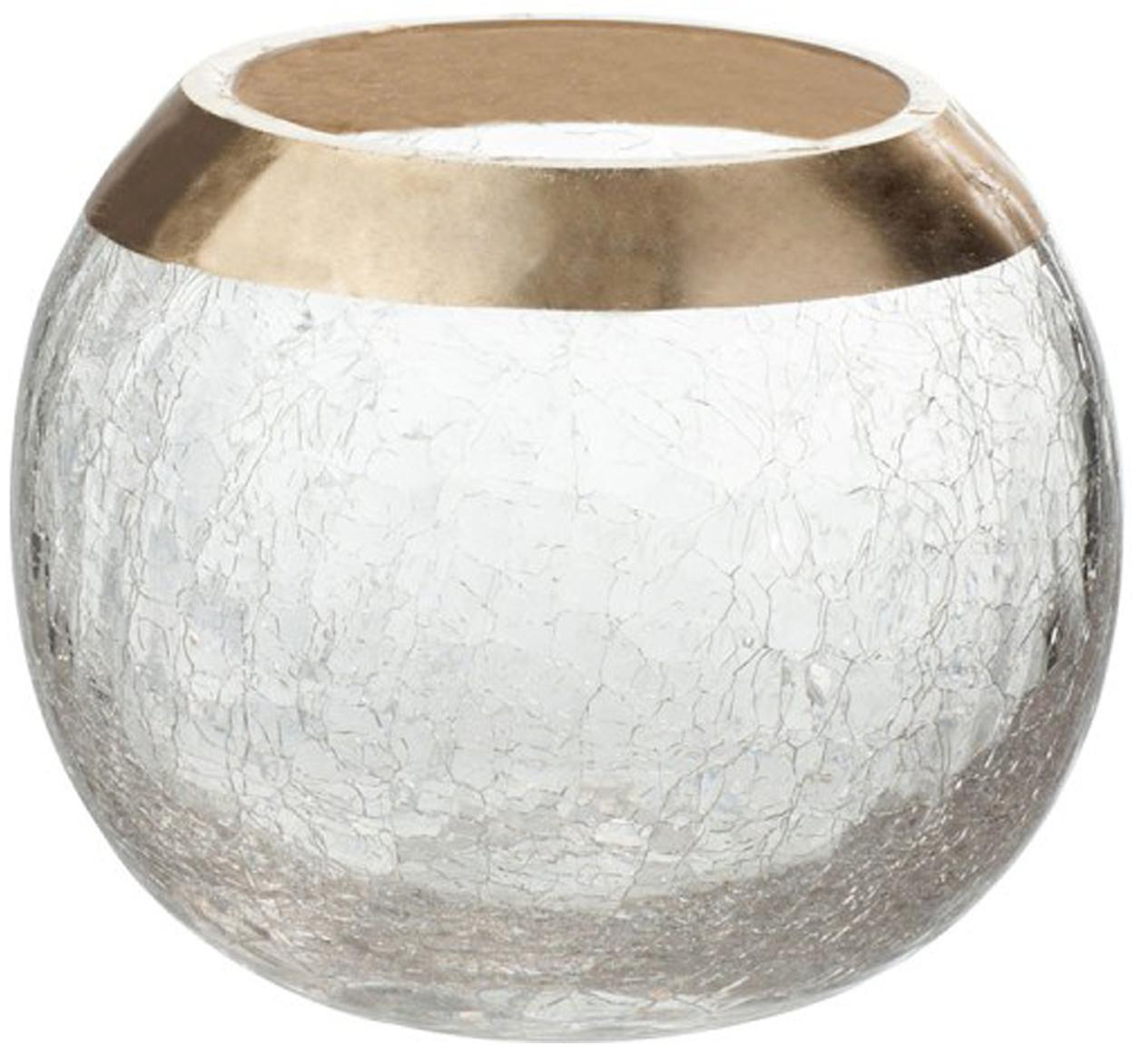 Waxinelichthouder Lackle, Gelakt glas, Transparant, goudkleurig, Ø 14 x H 11 cm