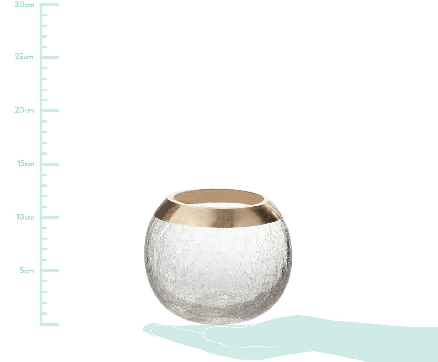 Teelichthalter Lackle, Glas, lackiert, Transparent, Goldfarben, Ø 14 x H 11 cm