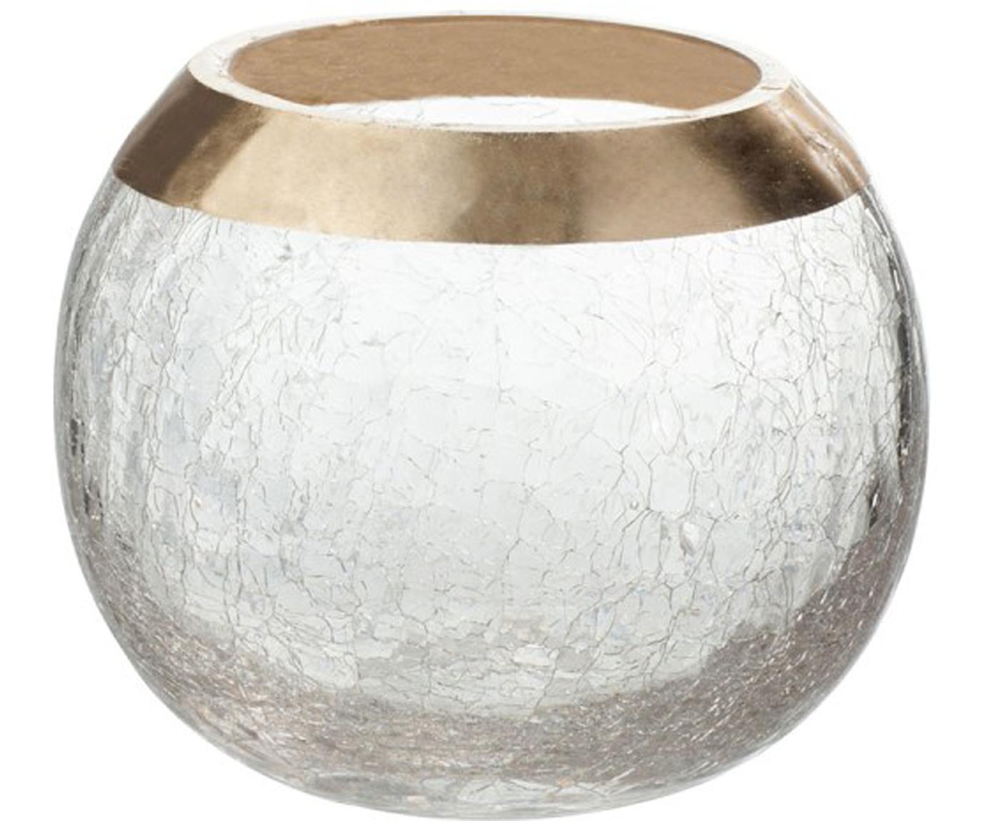 Portalumini Lackle, Vetro verniciato, Trasparente, dorato, Ø 14 x Alt. 11 cm
