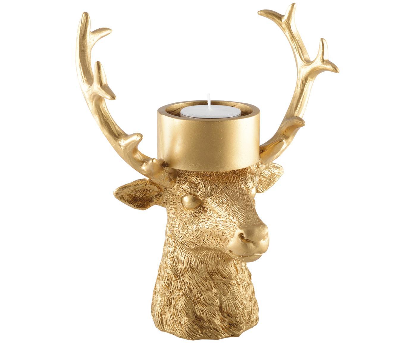 Candelabro Deer, Poliresina, Dorato, Larg. 18 x Alt. 22 cm