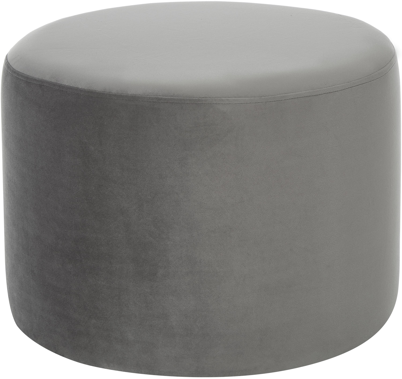 Puf z aksamitu Daisy, Tapicerka: aksamit (poliester) Tkani, Tapicerka: pianka, 28kg/m³, Aksamitny szary, Ø 62 x W 41 cm