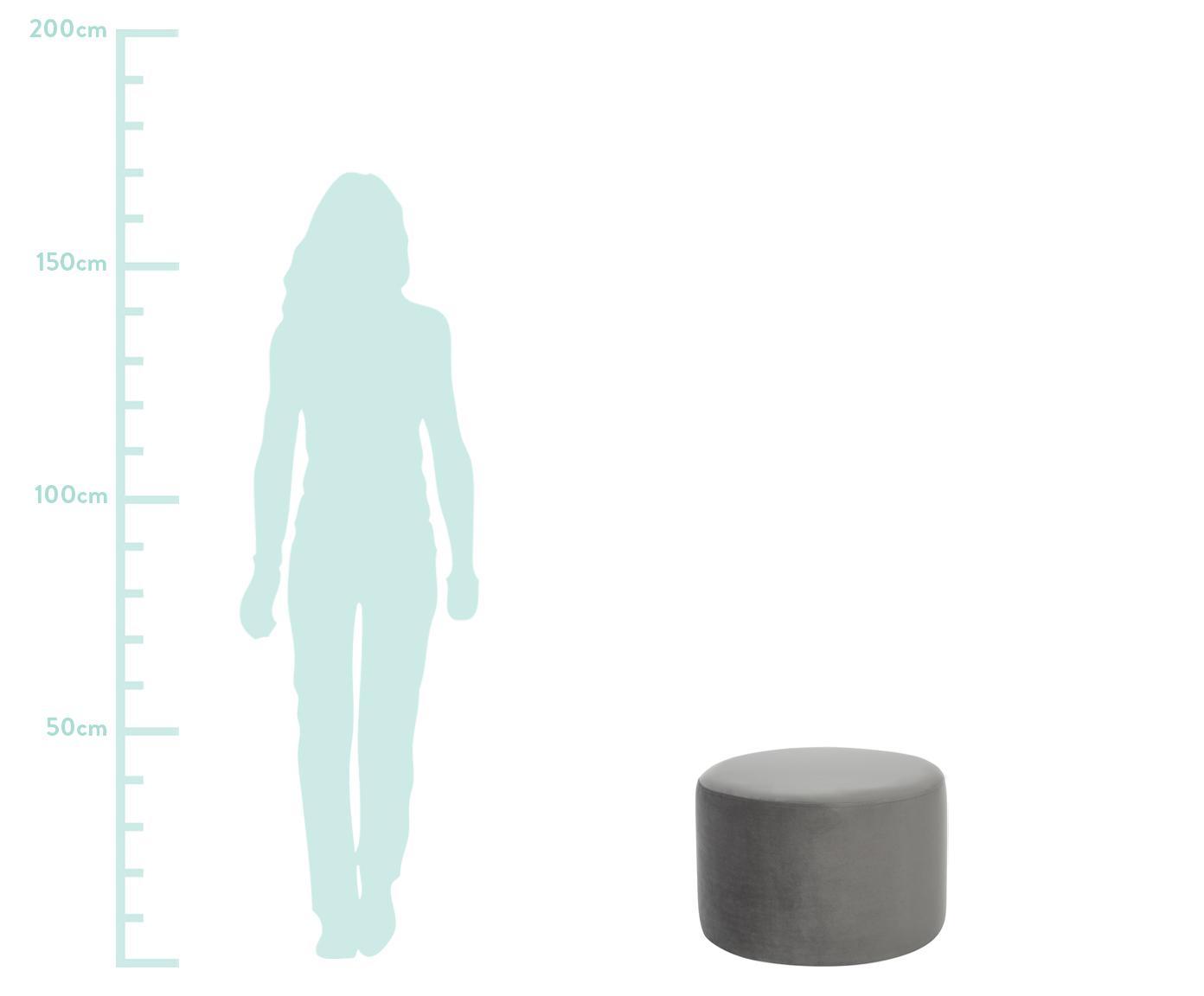 Samt-Hocker Daisy, Bezug: Samt (Polyester) 25.000 S, Rahmen: Sperrholz, Samt Grau, ∅ 54 x H 40 cm
