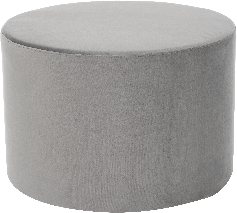 Puf de terciopelo Daisy, Tapizado: terciopelo (poliéster) Al, Estructura: tablero de fibras de dens, Gris, Ø 54 x Al 40 cm