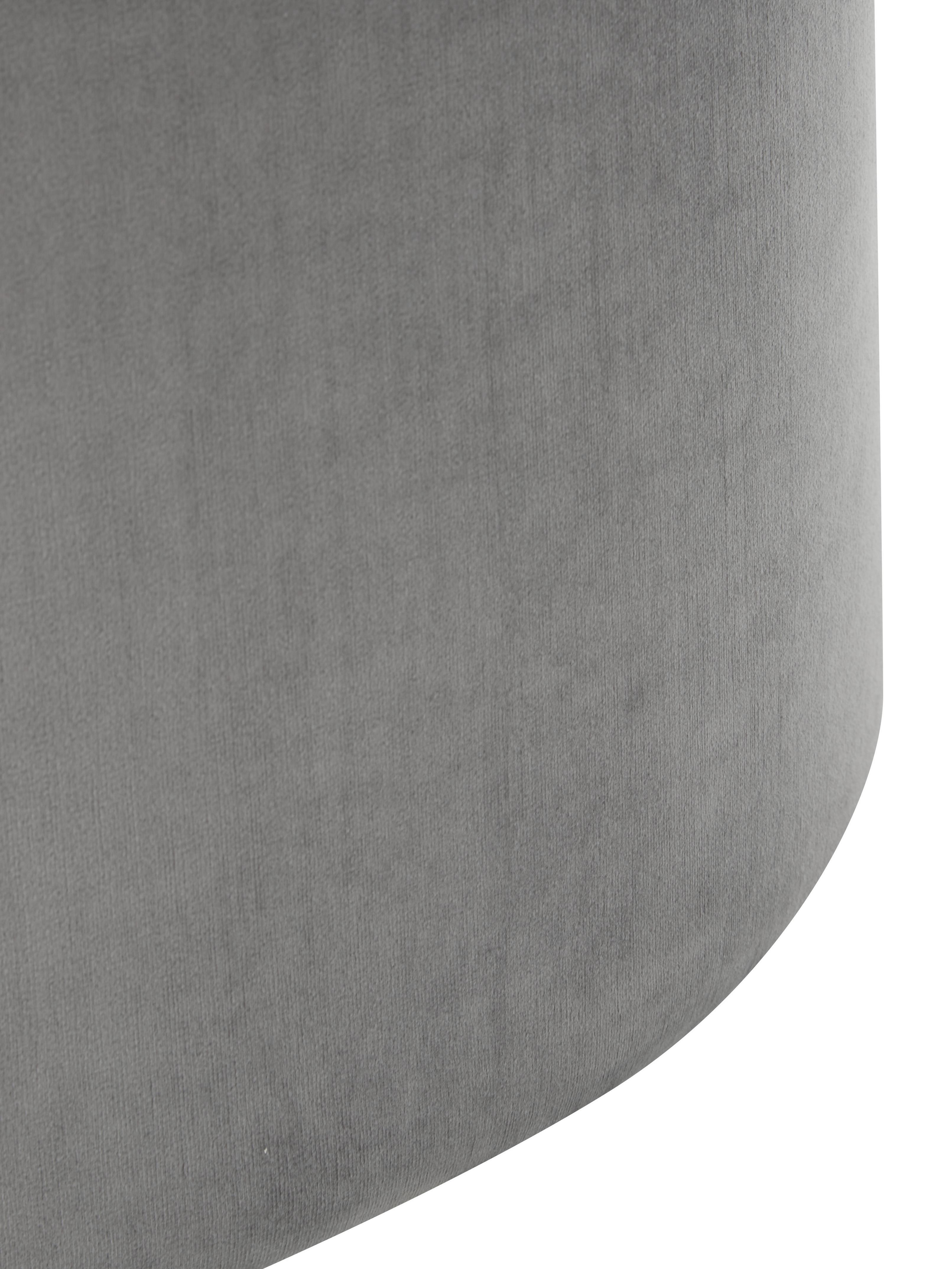 Samt-Hocker Daisy, Bezug: Samt (Polyester) Der hoch, Rahmen: Sperrholz, Samt Grau, Ø 54 x H 40 cm