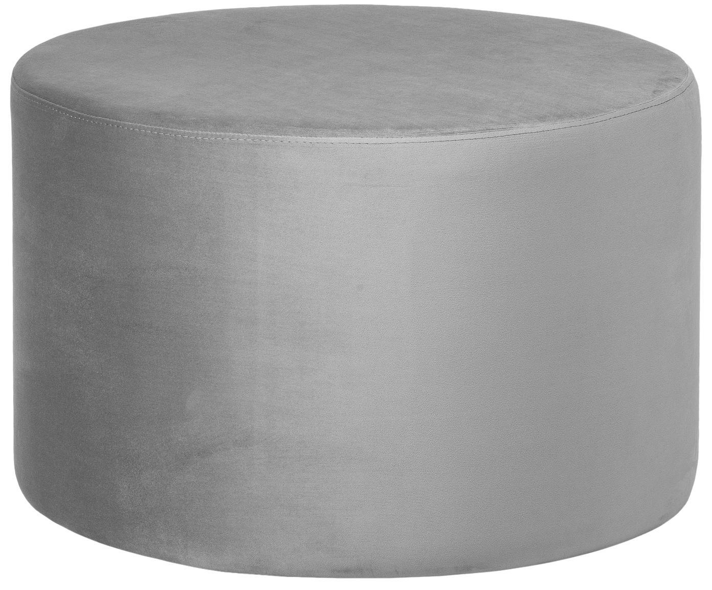 Samt-Hocker Daisy, Bezug: Samt (Polyester) 15.000 S, Rahmen: Mitteldichte Holzfaserpla, Grau, Ø 60 x H 41 cm