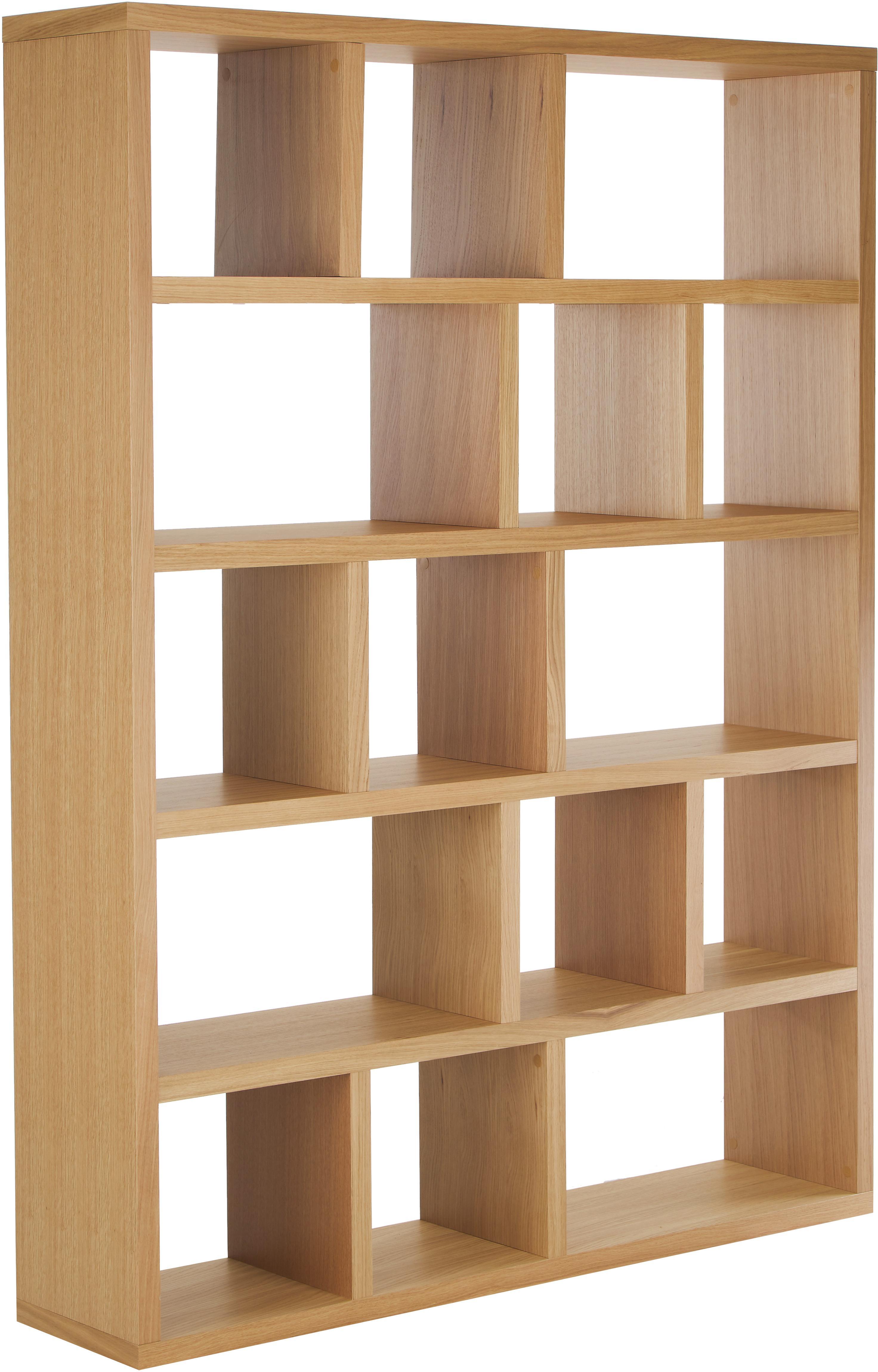 Regał na książki z drewna Portlyn, Drewno dębowe, brązowy, S 150 x W 198 cm