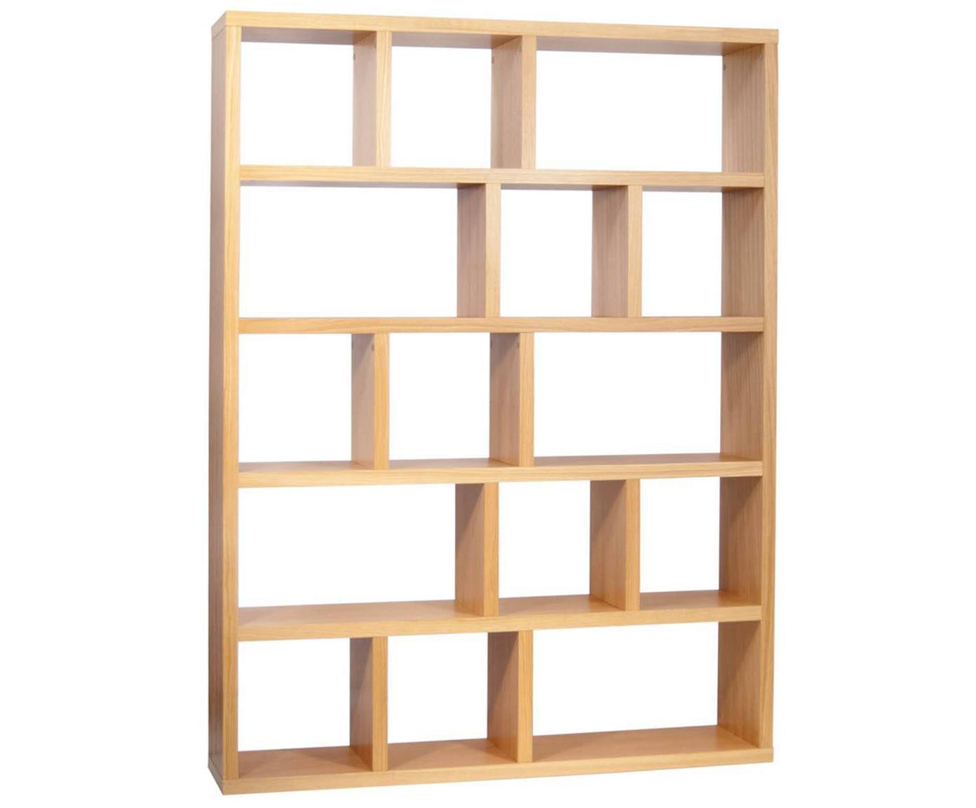 Libreria in legno Portlyn, Superficie: impiallacciato in vero le, Legno di quercia, marrone, Larg. 150 x Alt. 198 cm