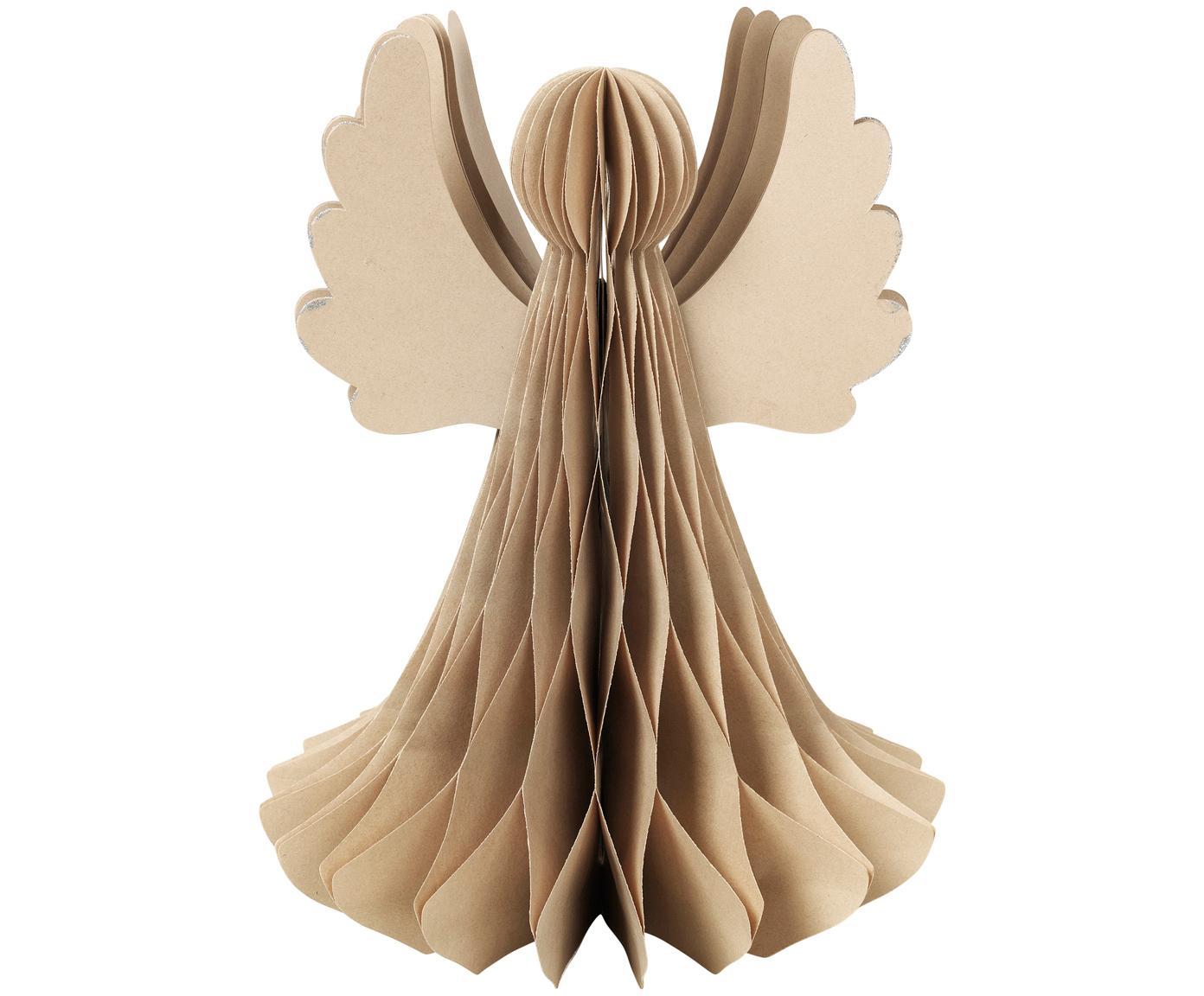 Decoratief object Angel, Papier, Beige, Ø 21 x H 27 cm