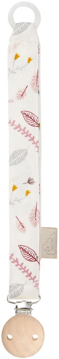Fopspeenhouder Pressed Leaves, Crèmekleurig, roze, blauw, grijs, geel, L 20 cm